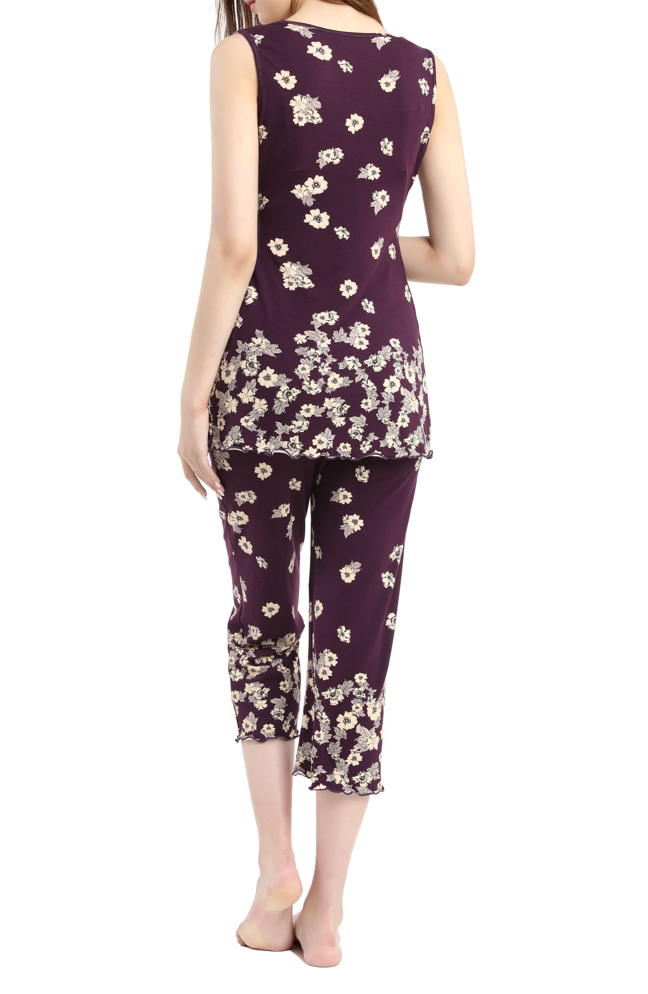 Kimi & Kai Loren Nursing/Maternity Pajamas,                             Alternate thumbnail 2, color,                             EGGPLANT