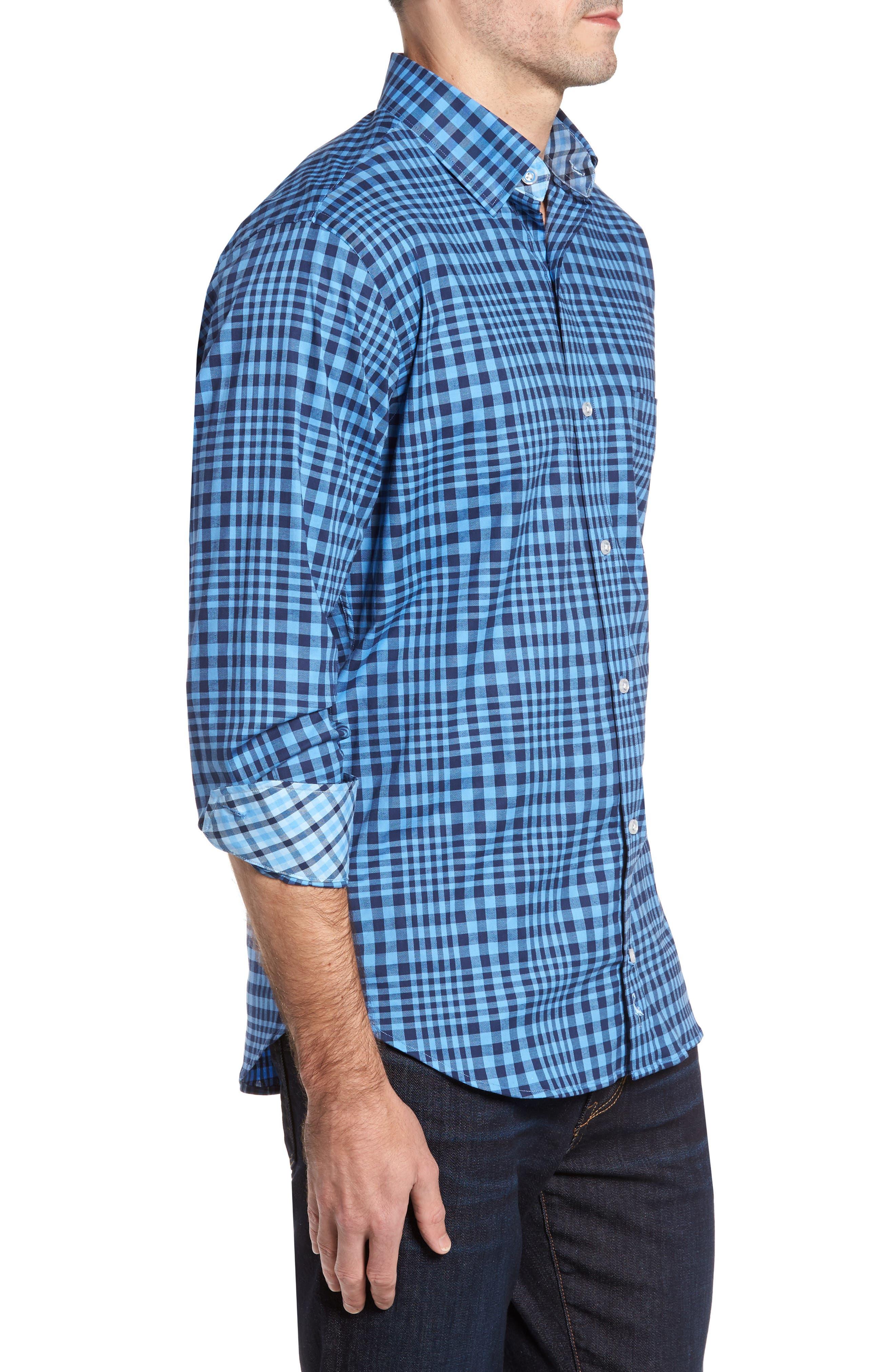 Bayou Cone Check Sport Shirt,                             Alternate thumbnail 3, color,                             410