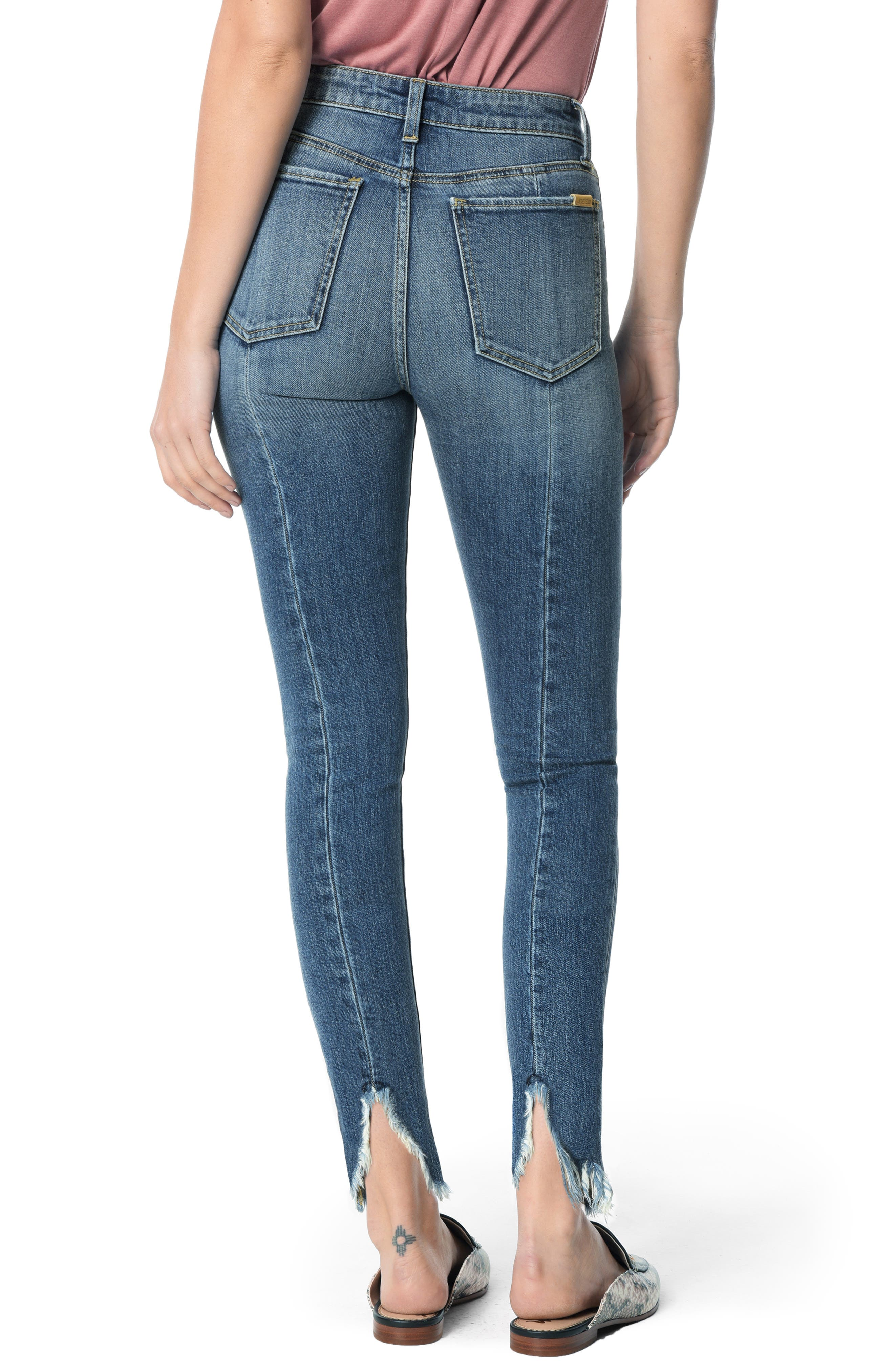 Charlie High Waist Frayed Split Hem Ankle Skinny Jeans,                             Alternate thumbnail 2, color,                             TARAJI