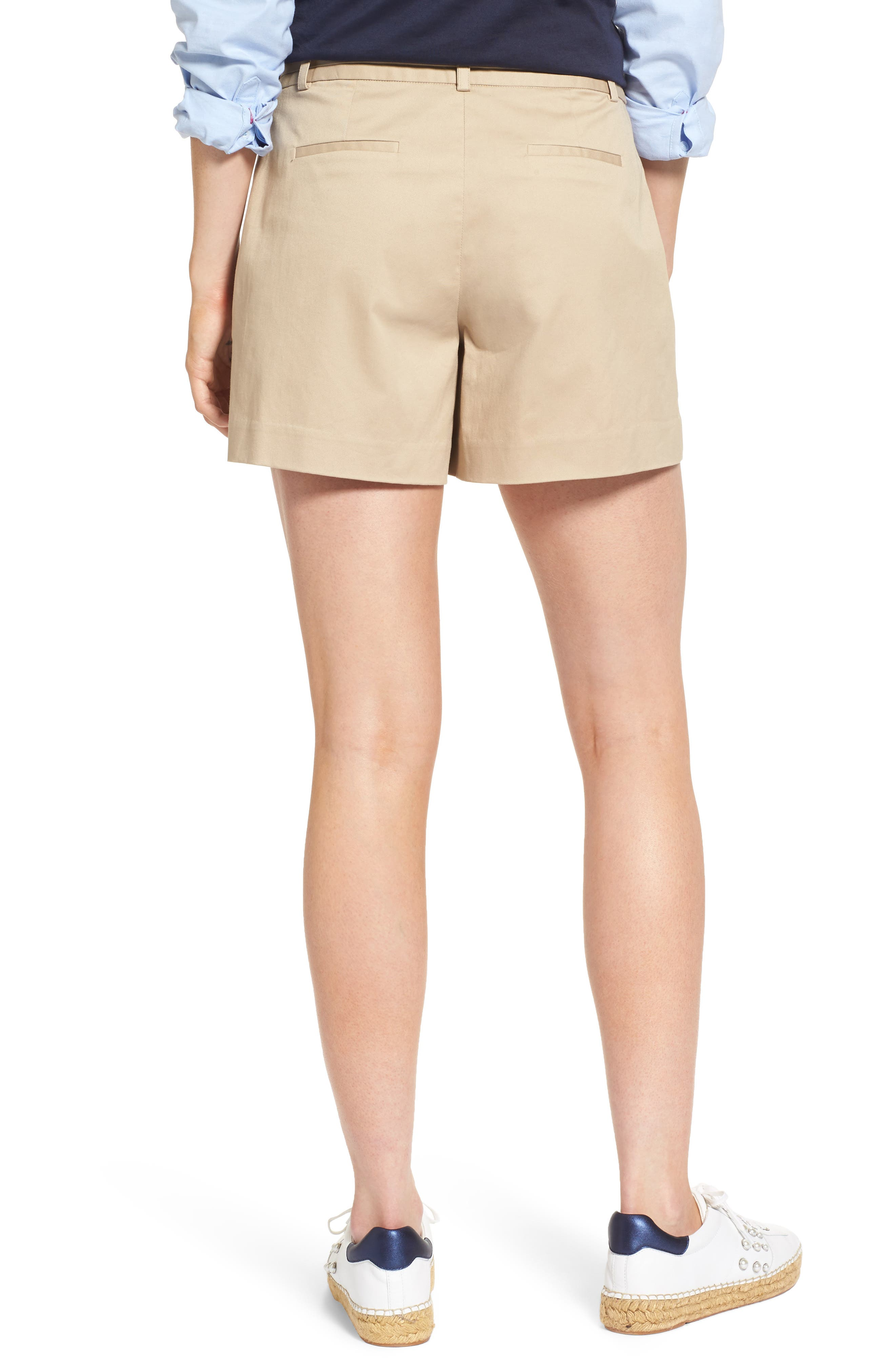 Pleated Twill Bow Front Shorts,                             Alternate thumbnail 2, color,                             235