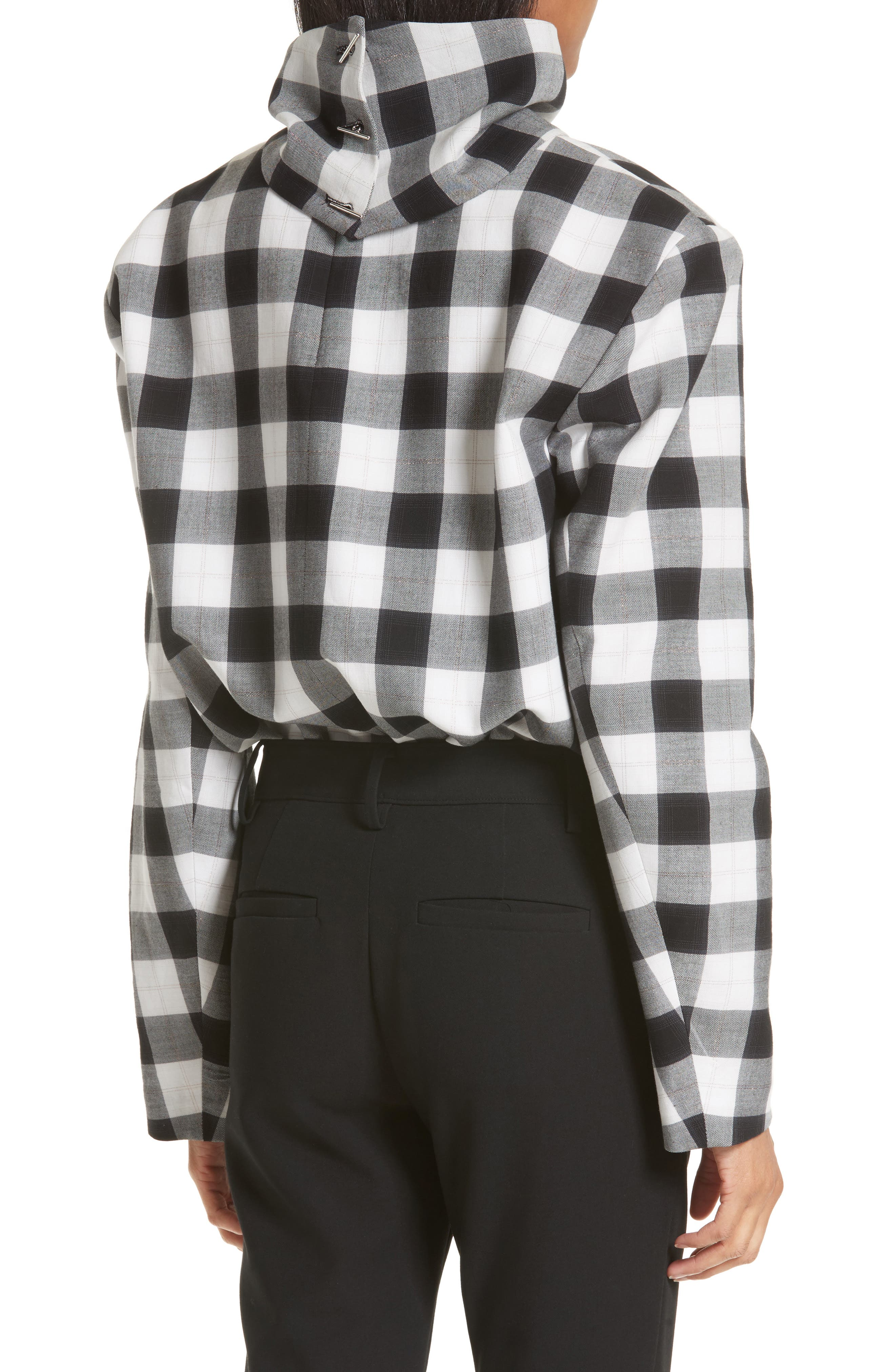 Tess Plaid Top with Detachable Collar,                             Alternate thumbnail 2, color,                             001