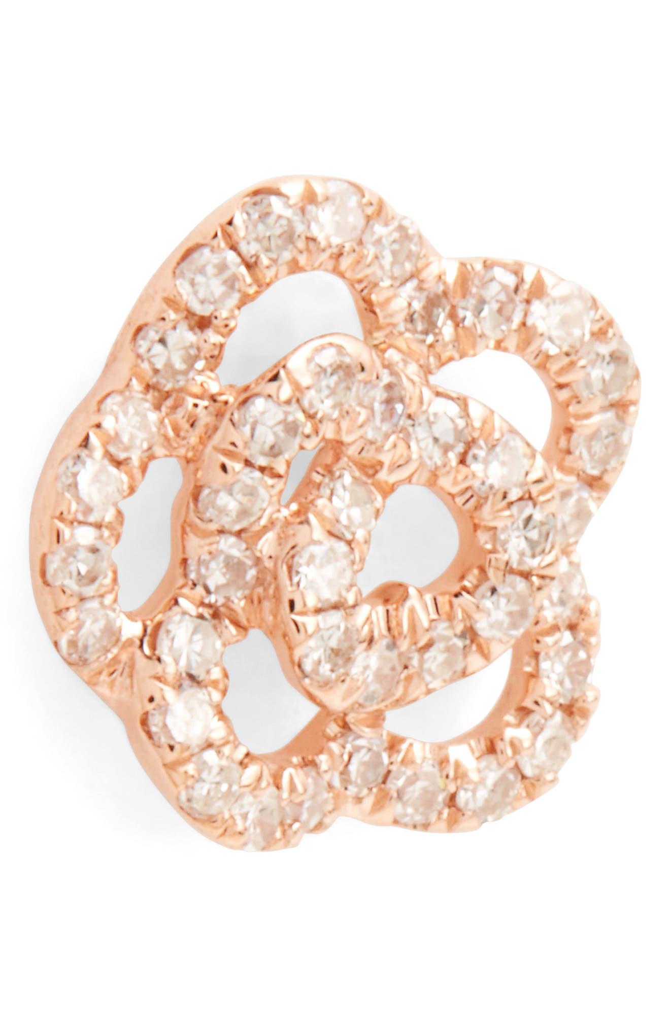 Rose Diamond Stud Earrings,                             Alternate thumbnail 6, color,                             ROSE GOLD