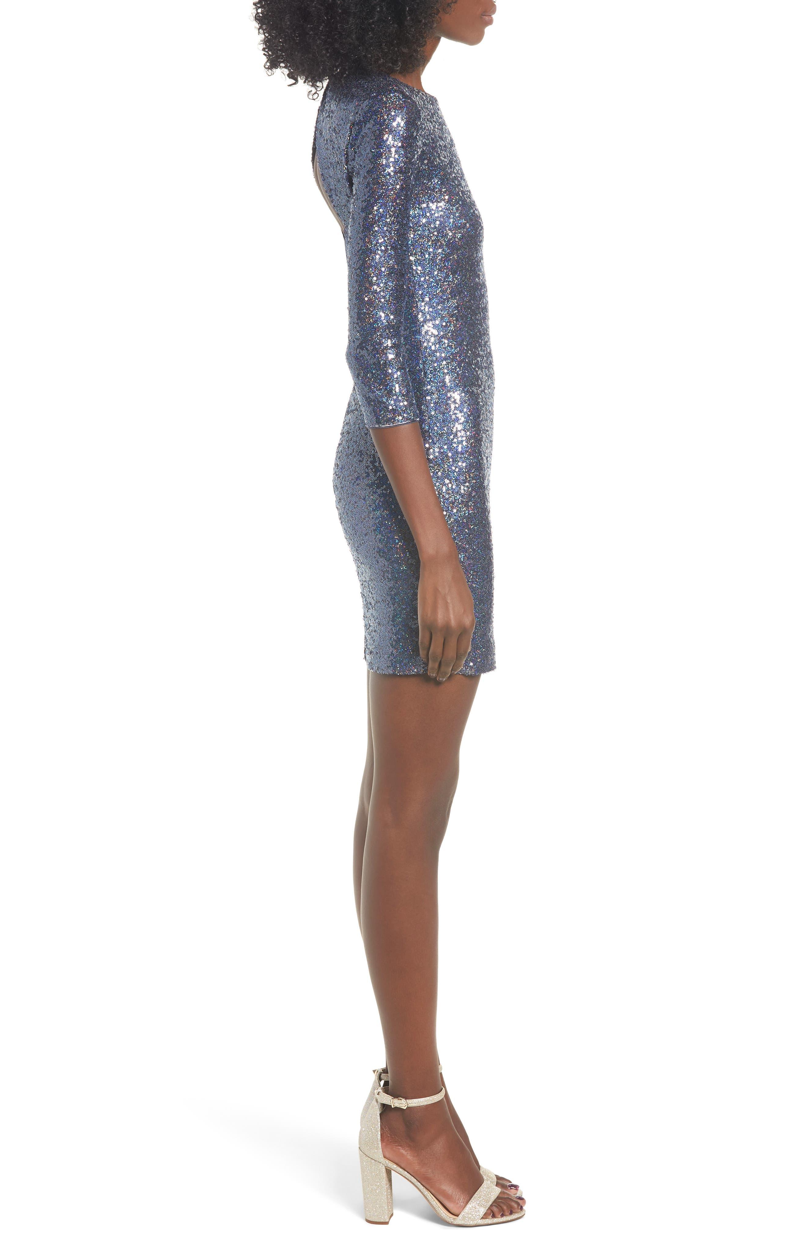 Sequin Body-Con Minidress,                             Alternate thumbnail 3, color,                             NAVY EVENING
