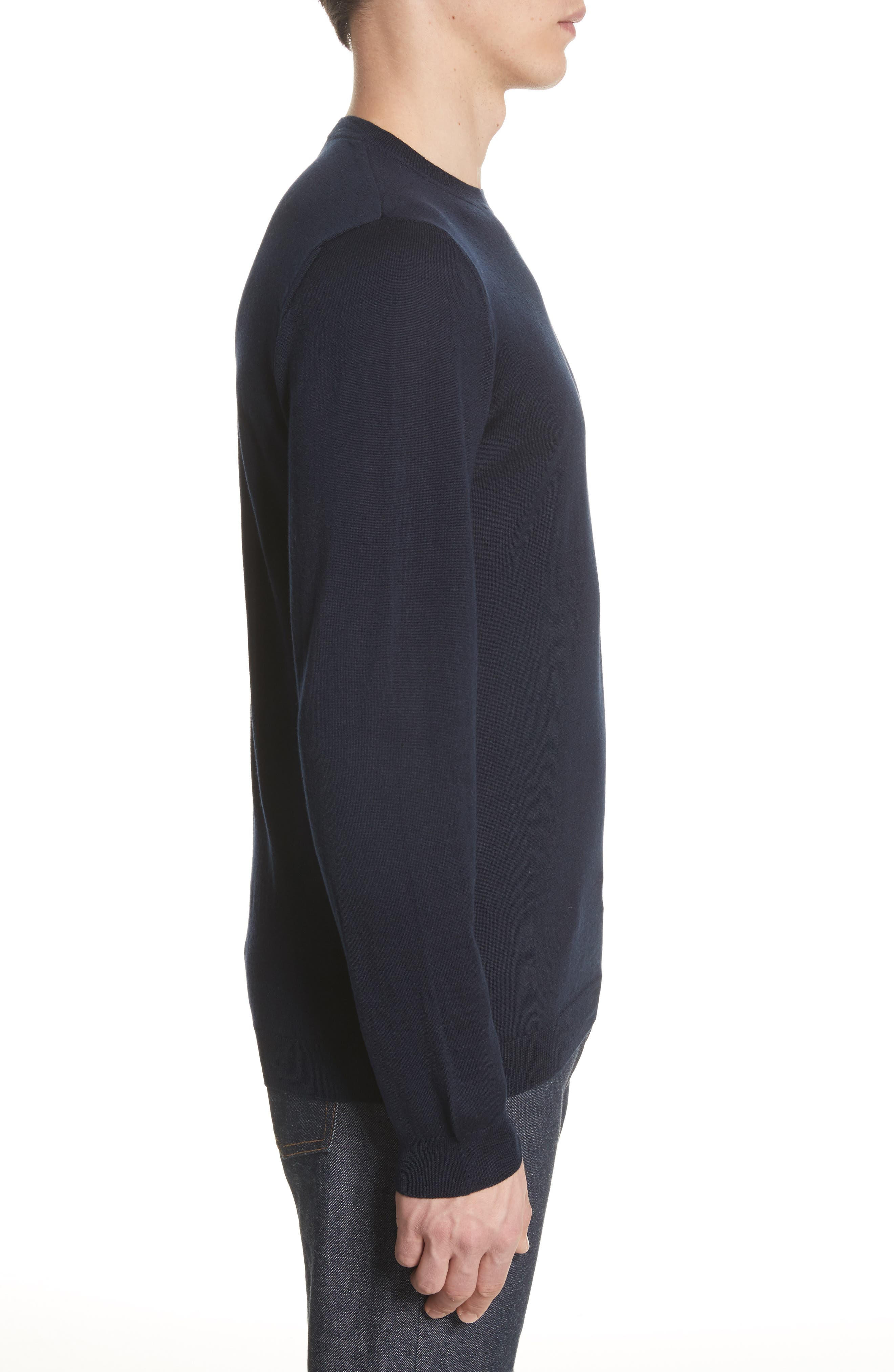 Sigfred Merino Wool & Silk Crewneck Sweater,                             Alternate thumbnail 3, color,                             412