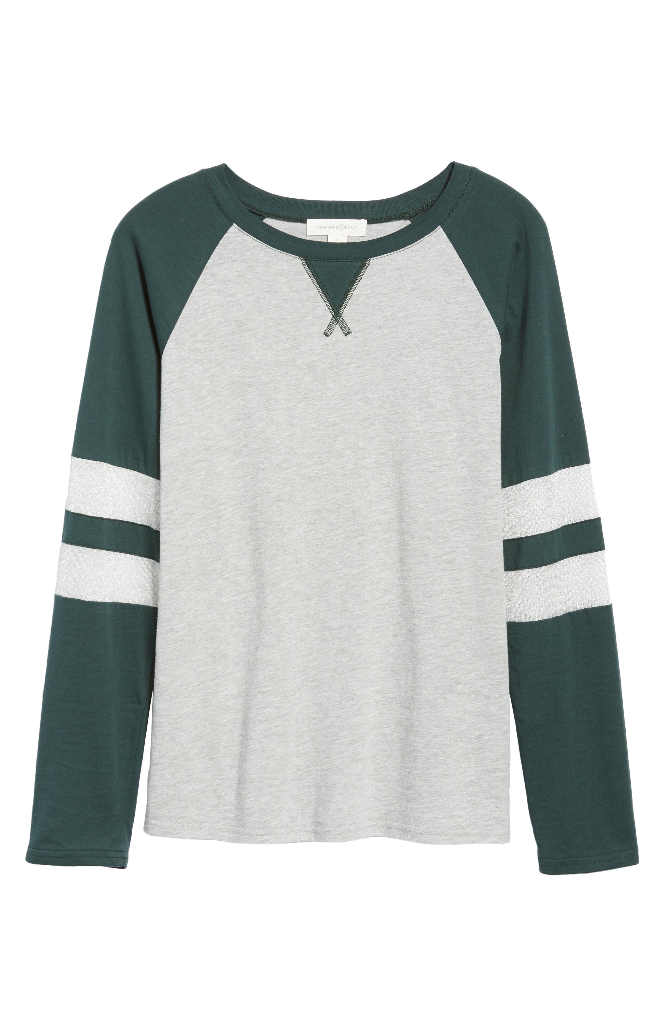 Colorblock Cotton Blend Raglan Top,                             Alternate thumbnail 6, color,                             GREY- GREEN GABLES COMBO