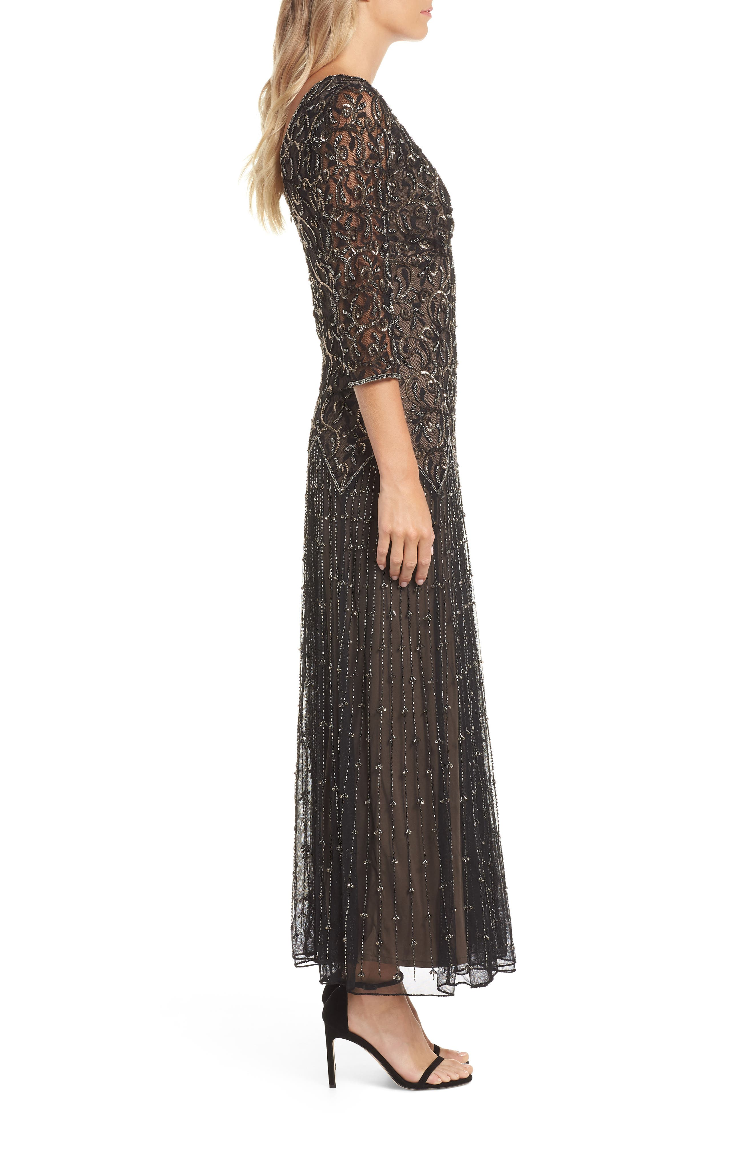 Embellished Mesh Gown,                             Alternate thumbnail 3, color,                             BLACK