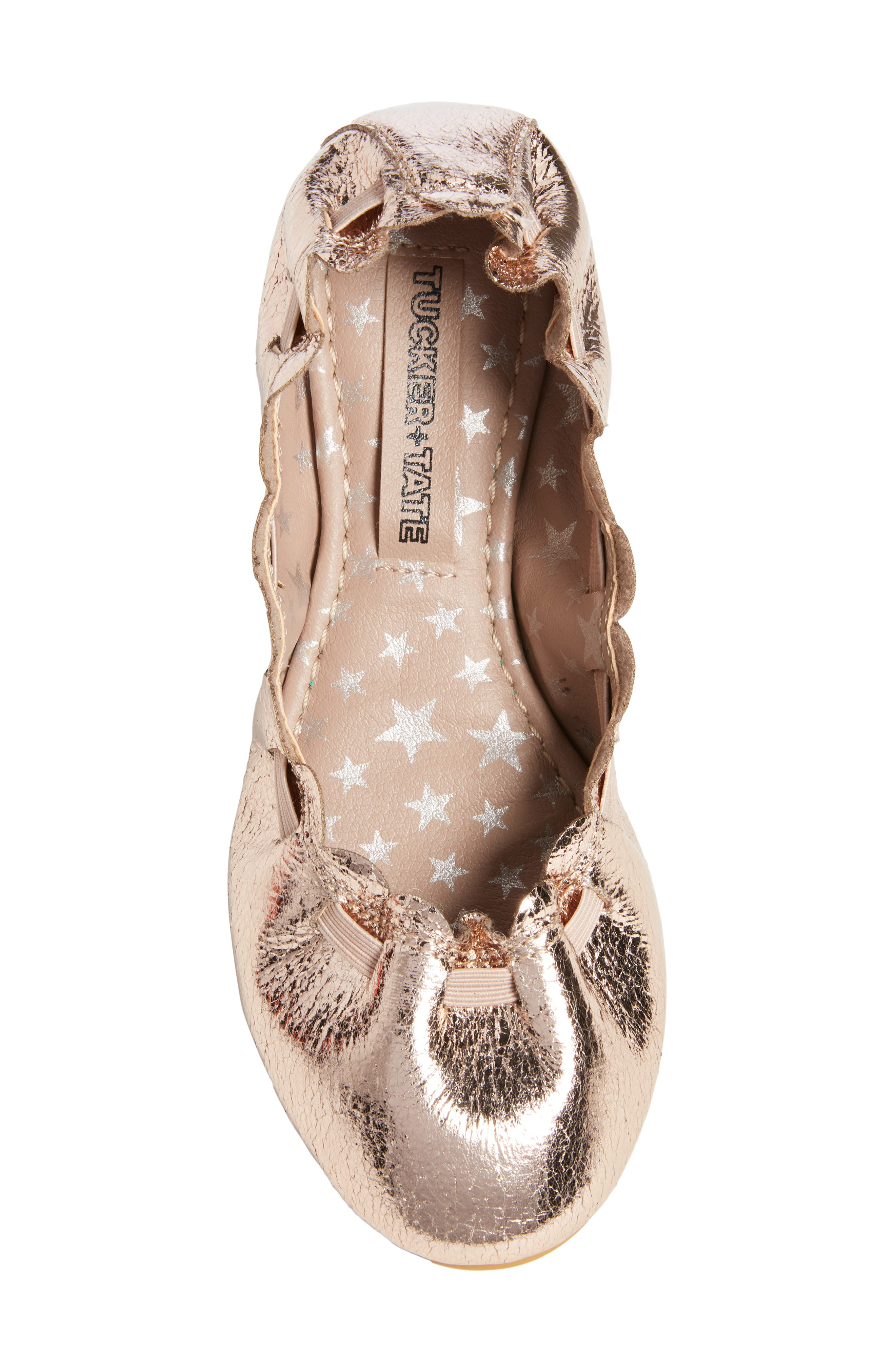 Scalloped Ballet Flat,                             Alternate thumbnail 5, color,                             ROSE GOLD CRACKLE FAUX LEATHER