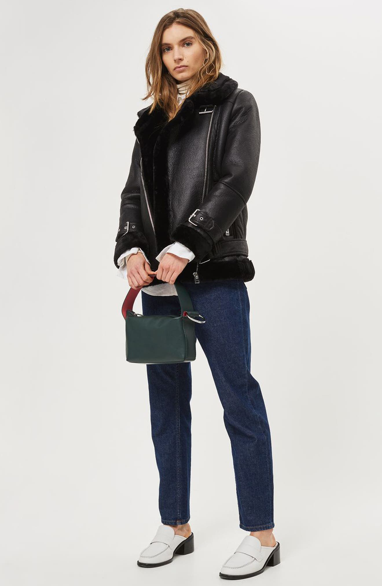 TOPSHOP,                             Faux Shearling Biker Jacket,                             Alternate thumbnail 5, color,                             001