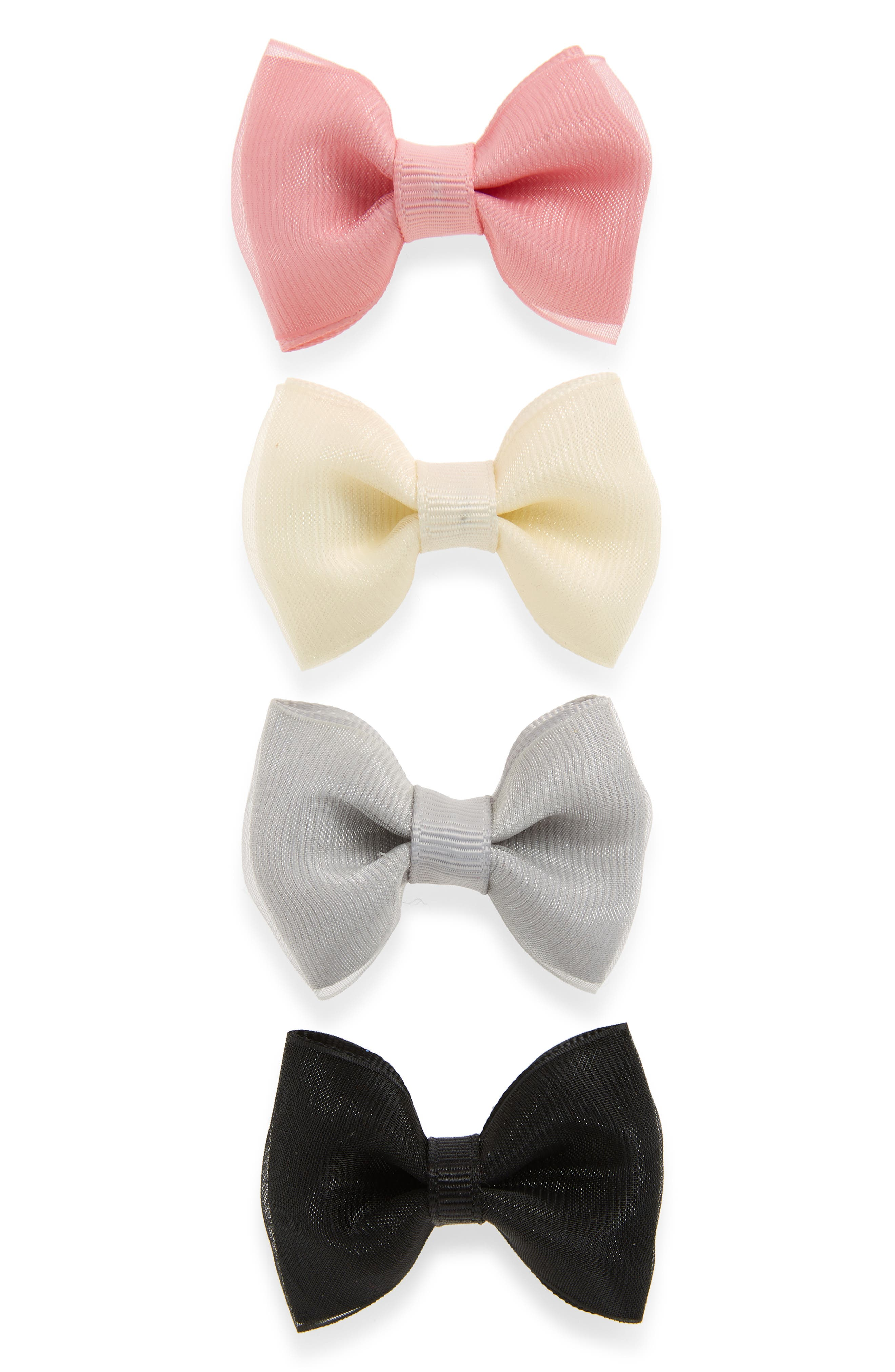 4-Pack Organza Bow Clips,                         Main,                         color, PEONY