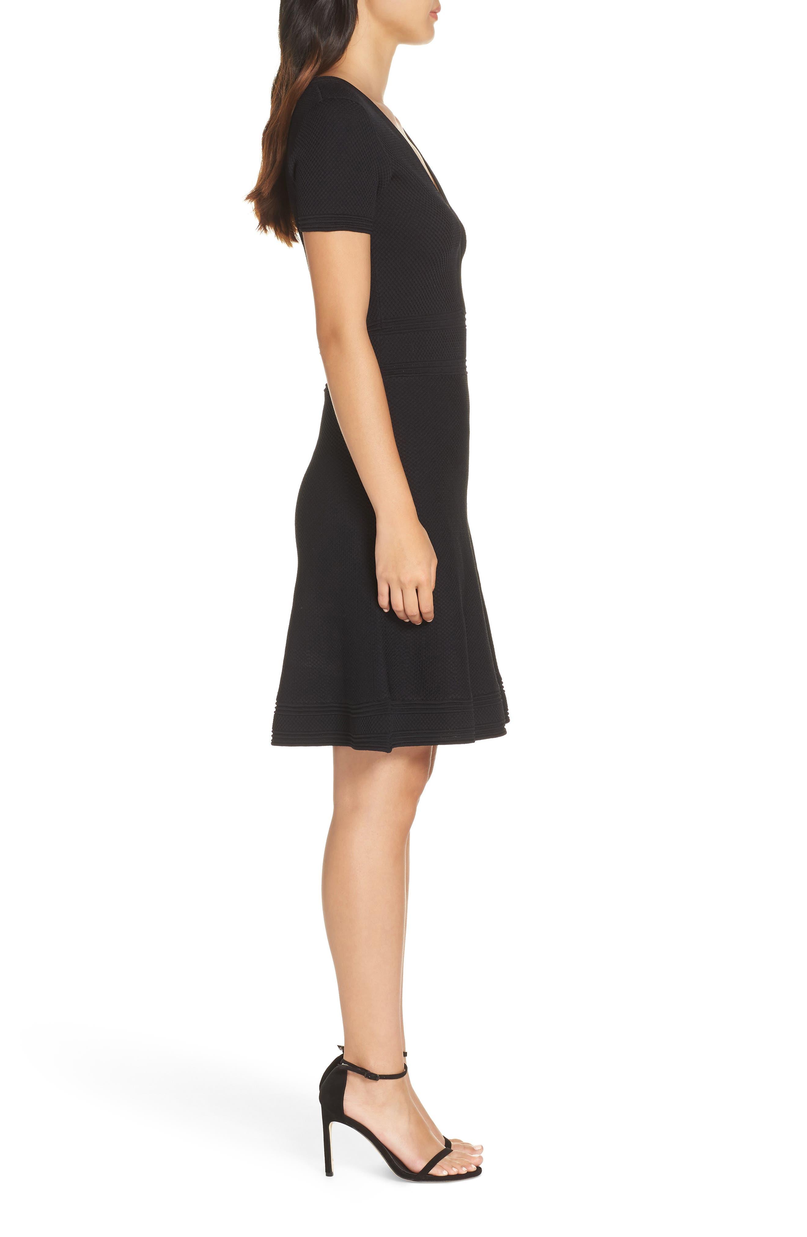 Ellie Knits V-Neck Fit & Flare Dress,                             Alternate thumbnail 3, color,                             BLACK