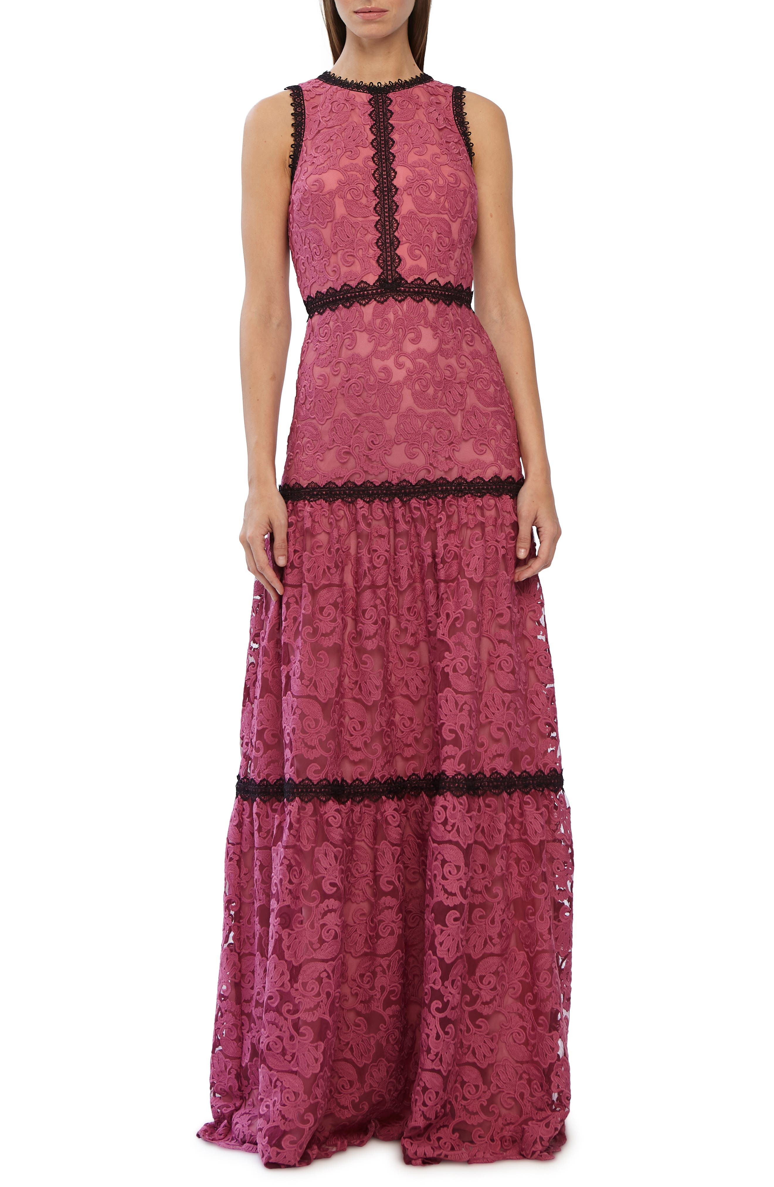 Ml Monique Lhuillier Lace Trim Evening Dress, Pink