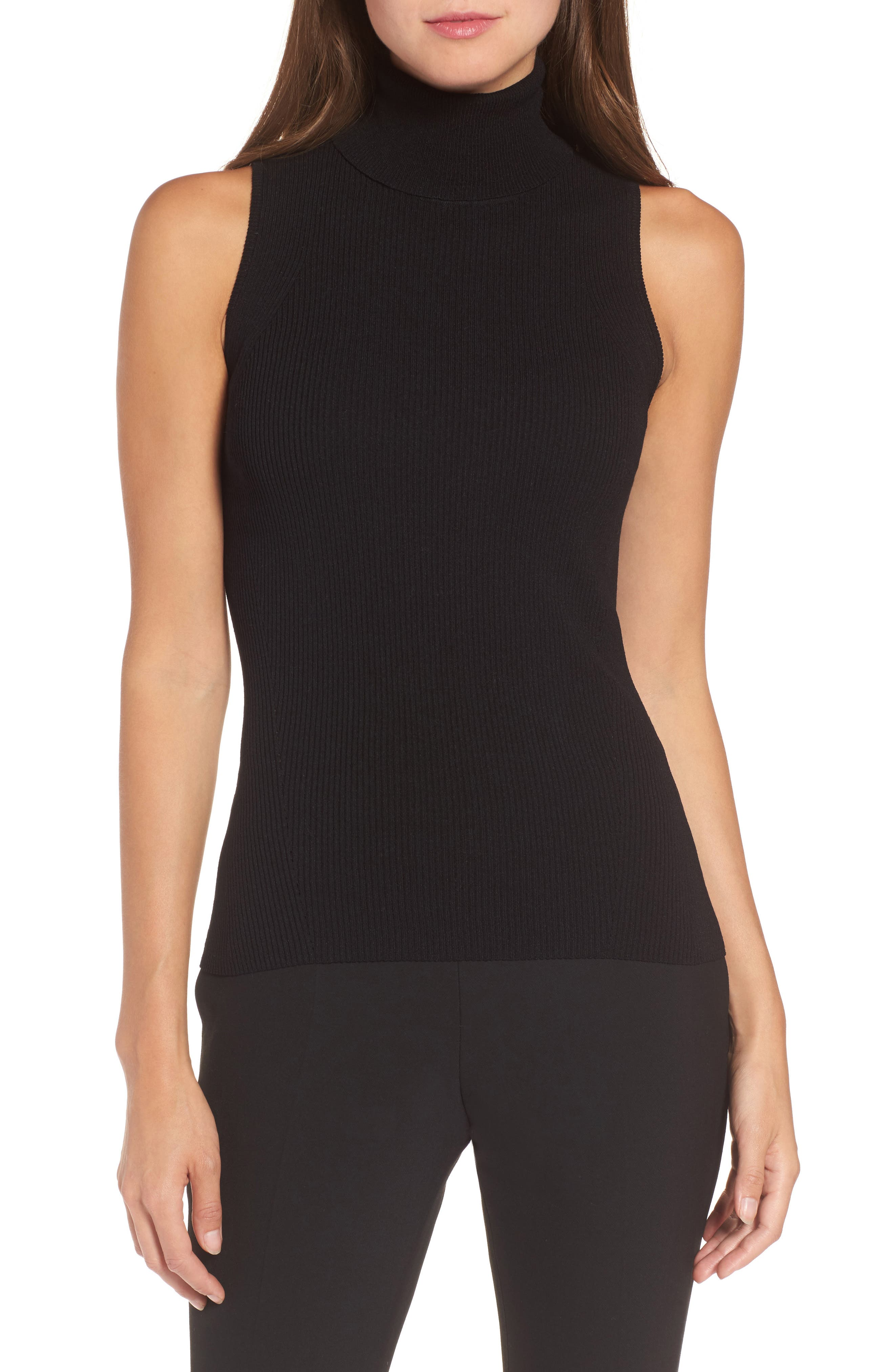 Sleeveless Turtleneck Top,                         Main,                         color, BLACK