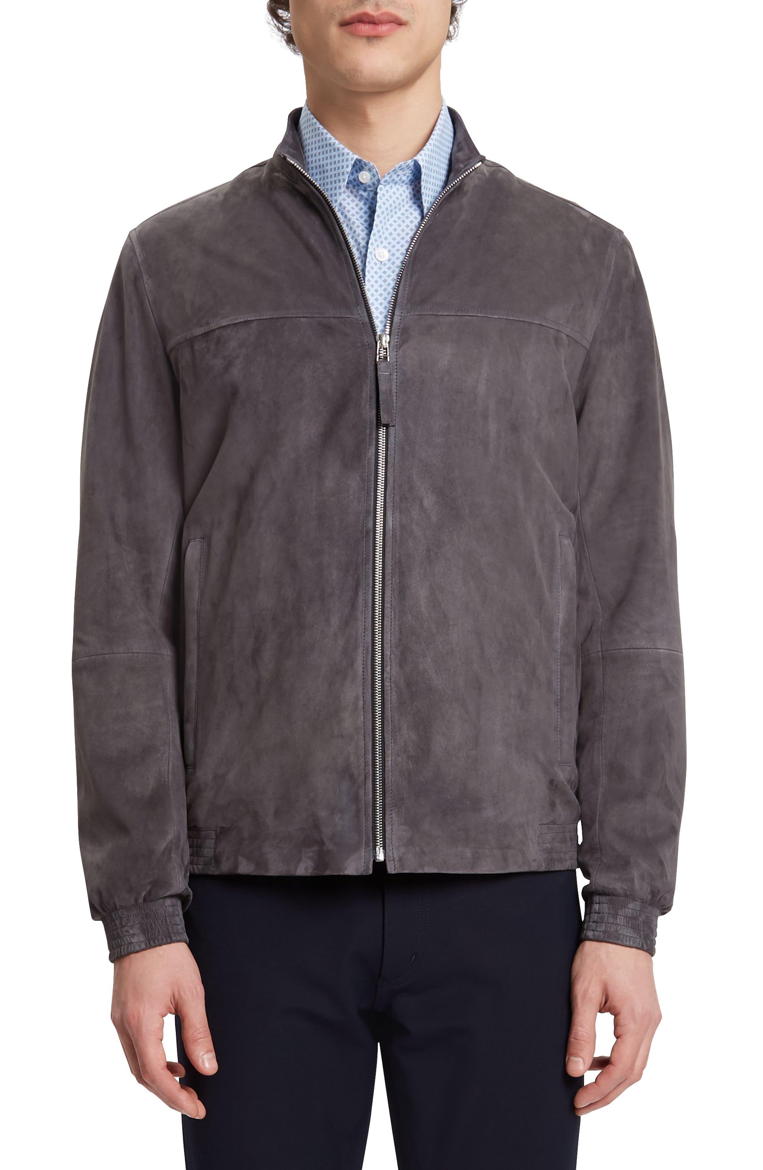 Theory Tremont L Radic Suede Mockneck Jacket, Grey
