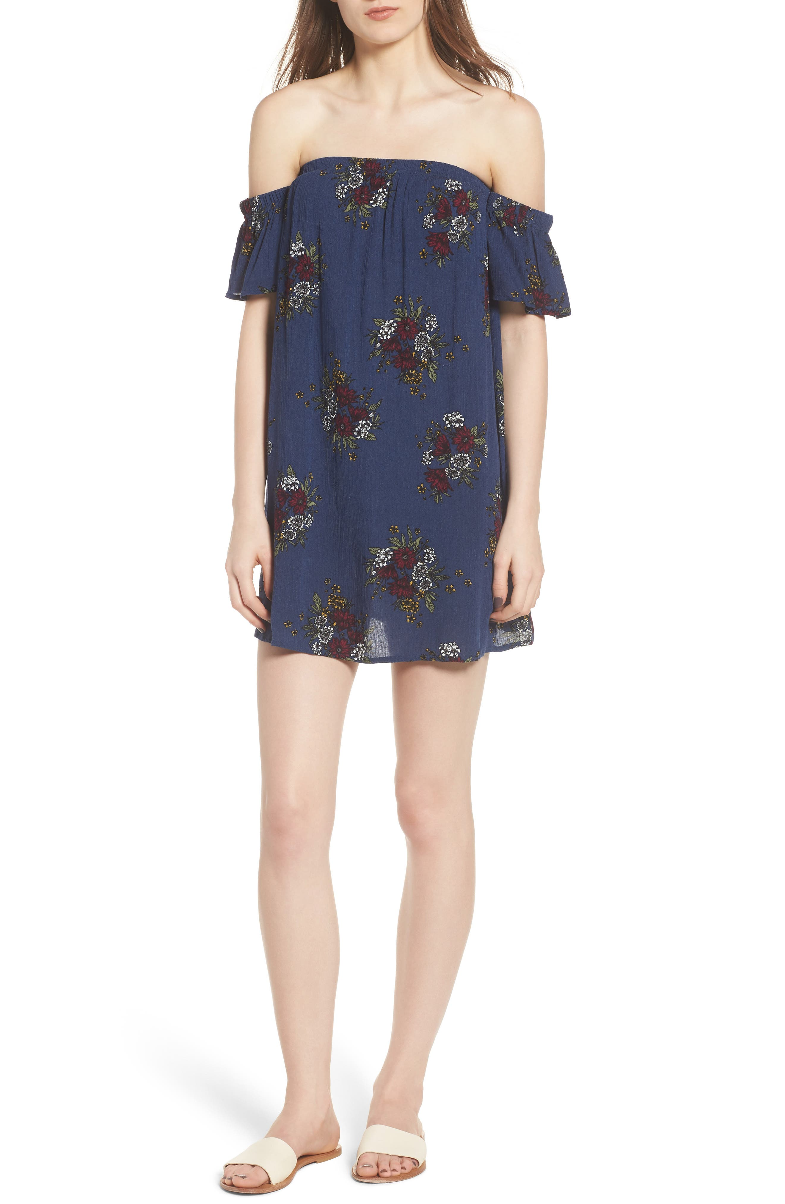 Road to Indio Print Off the Shoulder Dress,                         Main,                         color, 401