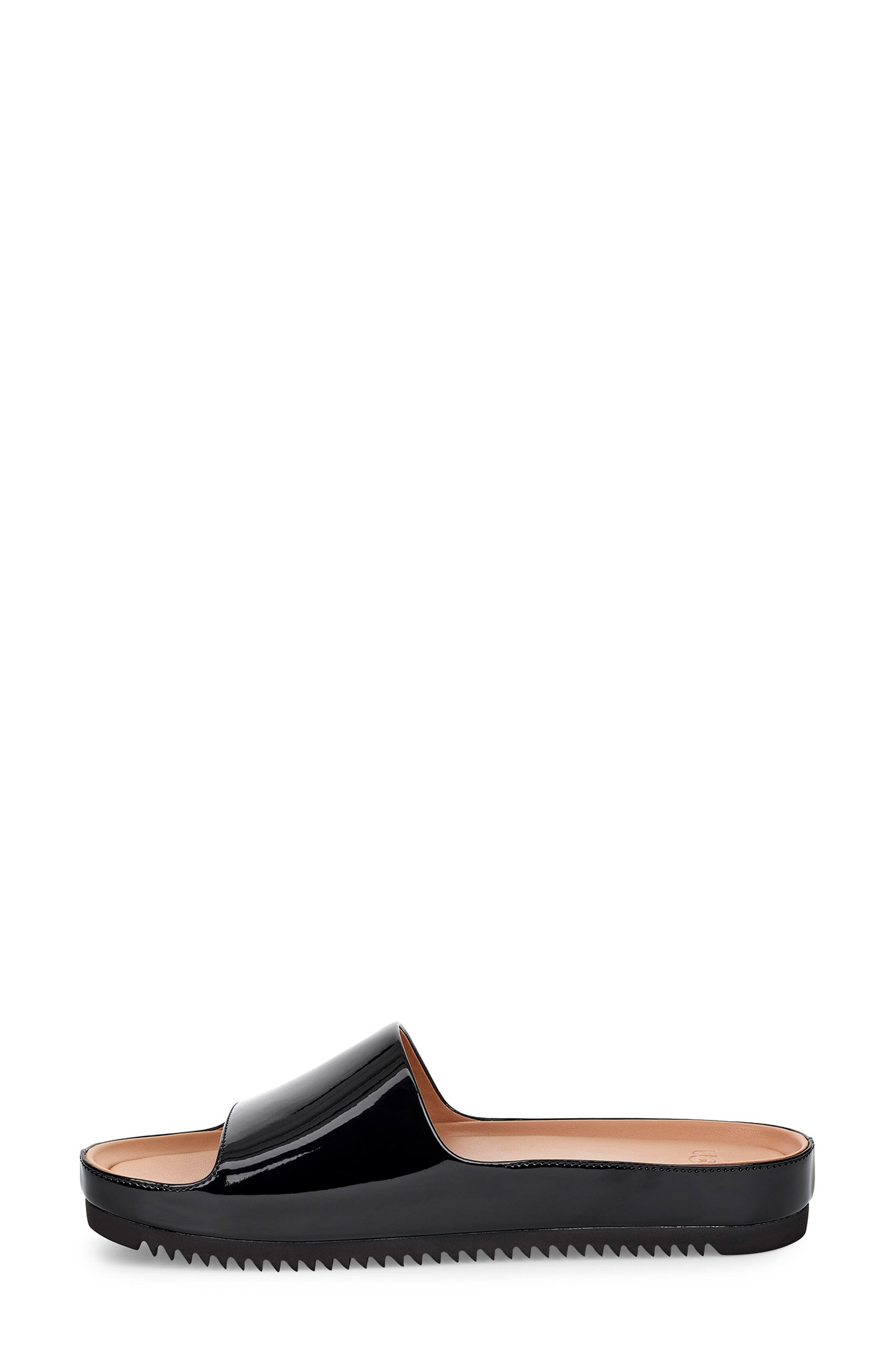 Jane Platform Slide Sandal,                             Alternate thumbnail 6, color,                             BLACK PATENT LEATHER