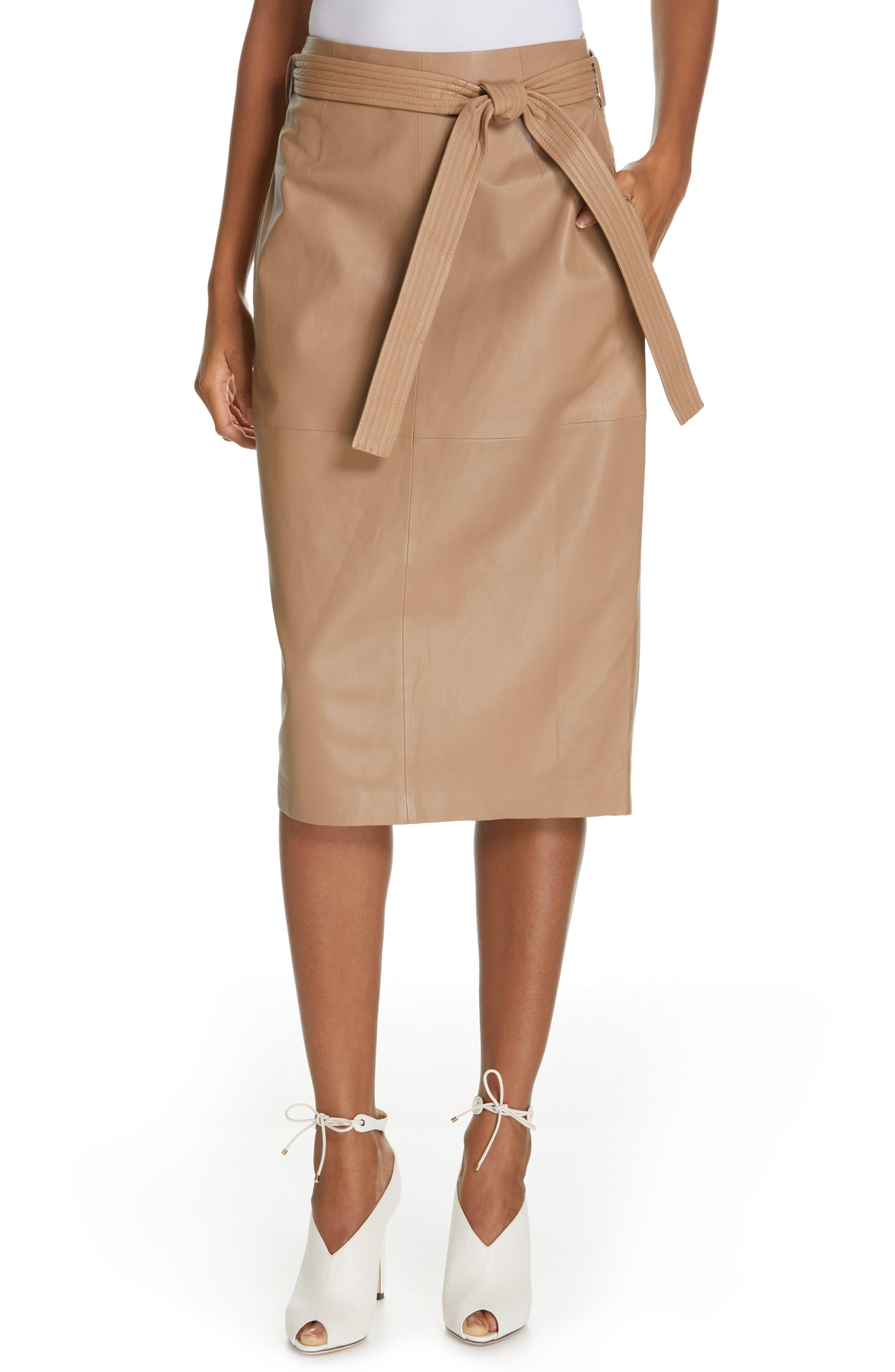 Alouetta Leather Skirt, Main, color, BOIS