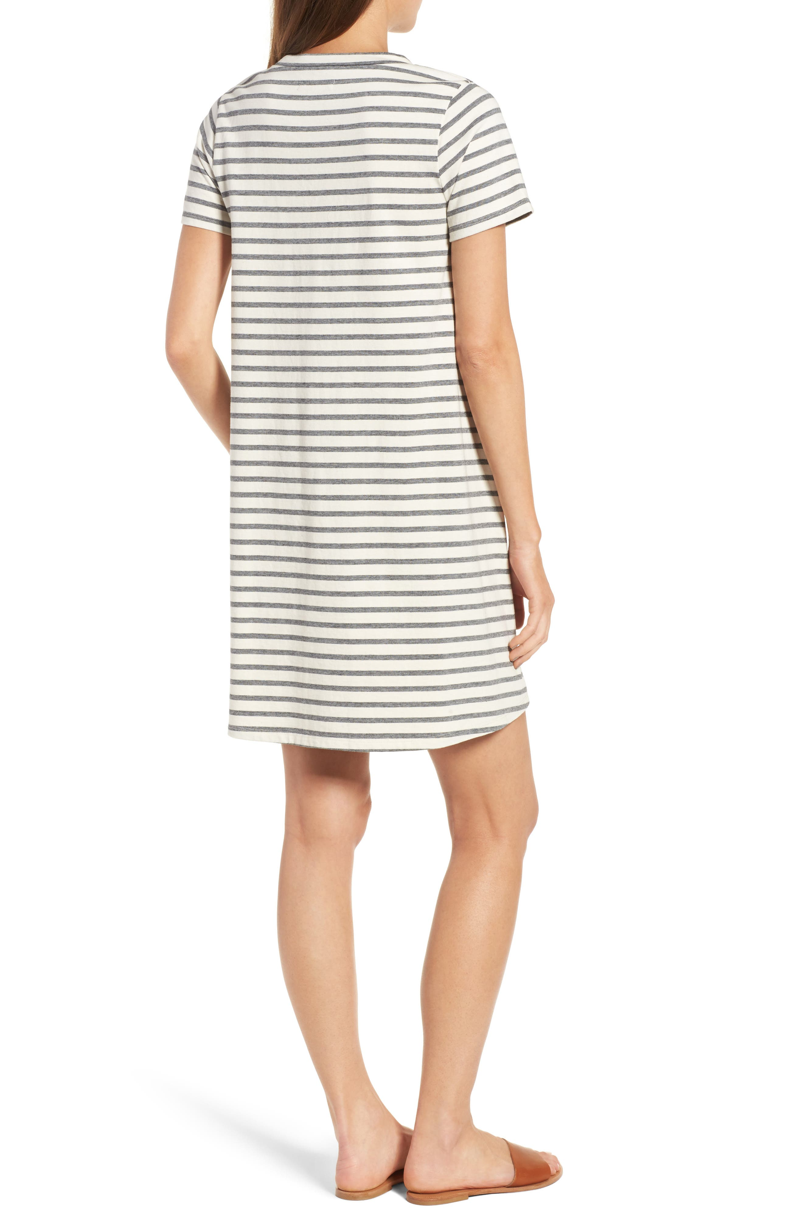 Retreat Stripe Cotton Shift Dress,                             Alternate thumbnail 2, color,                             100