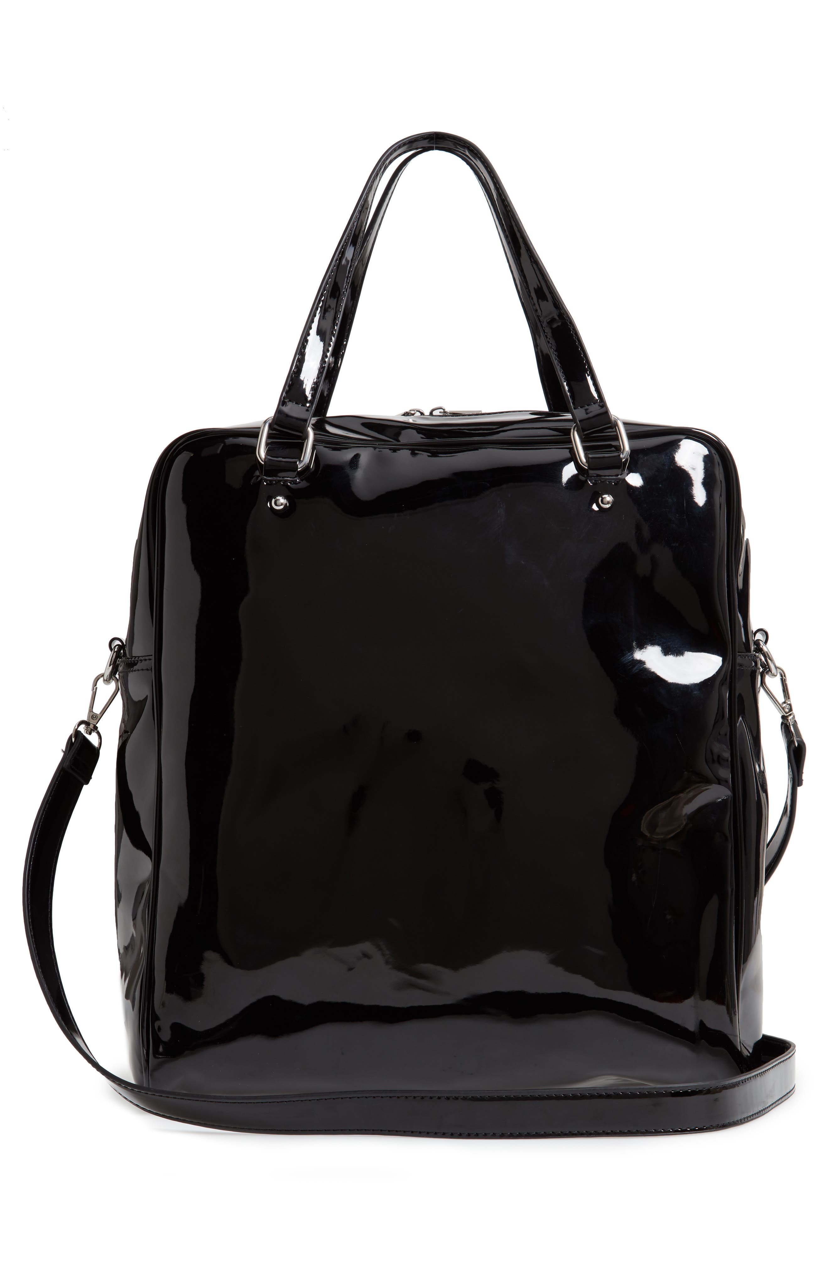 Glossy Faux Leather Structured Tote Bag,                             Alternate thumbnail 3, color,                             BLACK
