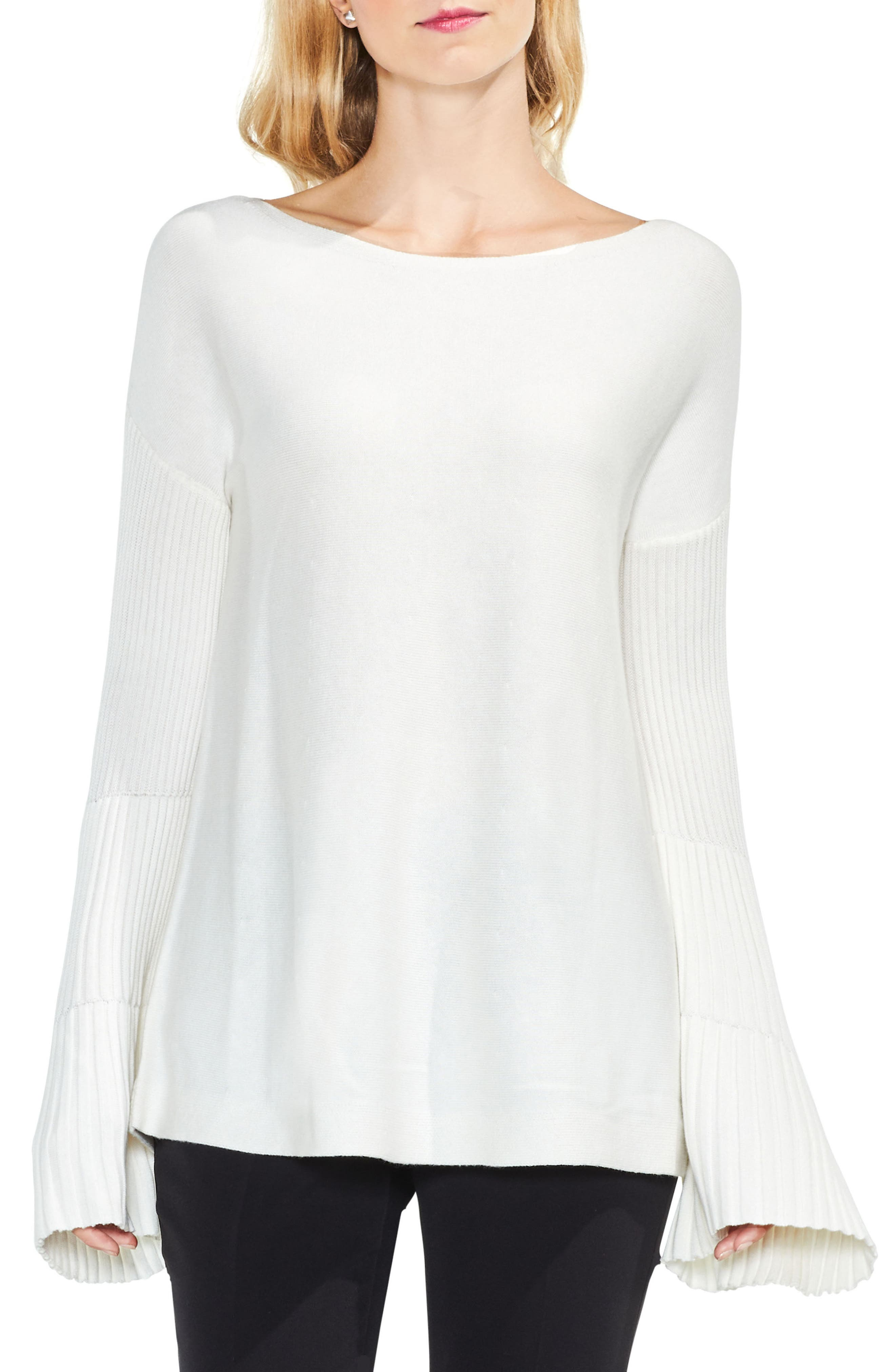 Bell Sleeve Ribbed Sweater,                             Main thumbnail 4, color,