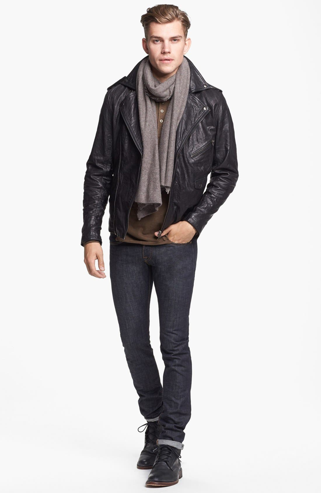 ZANEROBE Leather Biker Jacket, Polo Ralph Lauren Cashmere Blend Scarf & J Brand Skinny Fit Jeans,                             Alternate thumbnail 2, color,                             001
