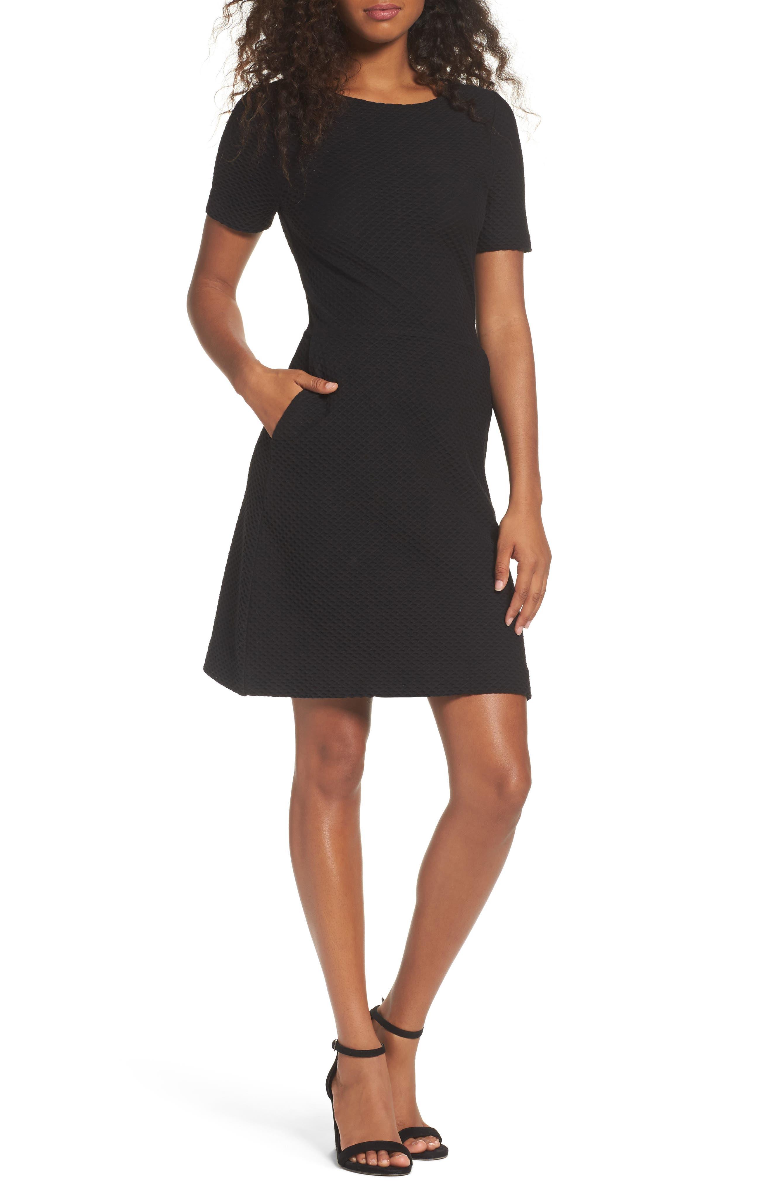 Dixie Fit & Flare Dress,                         Main,                         color, BLACK