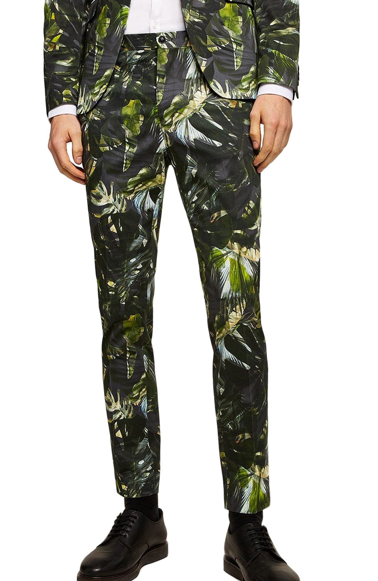 Palm Print Ultra Skinny Smart Pants,                             Main thumbnail 1, color,                             300