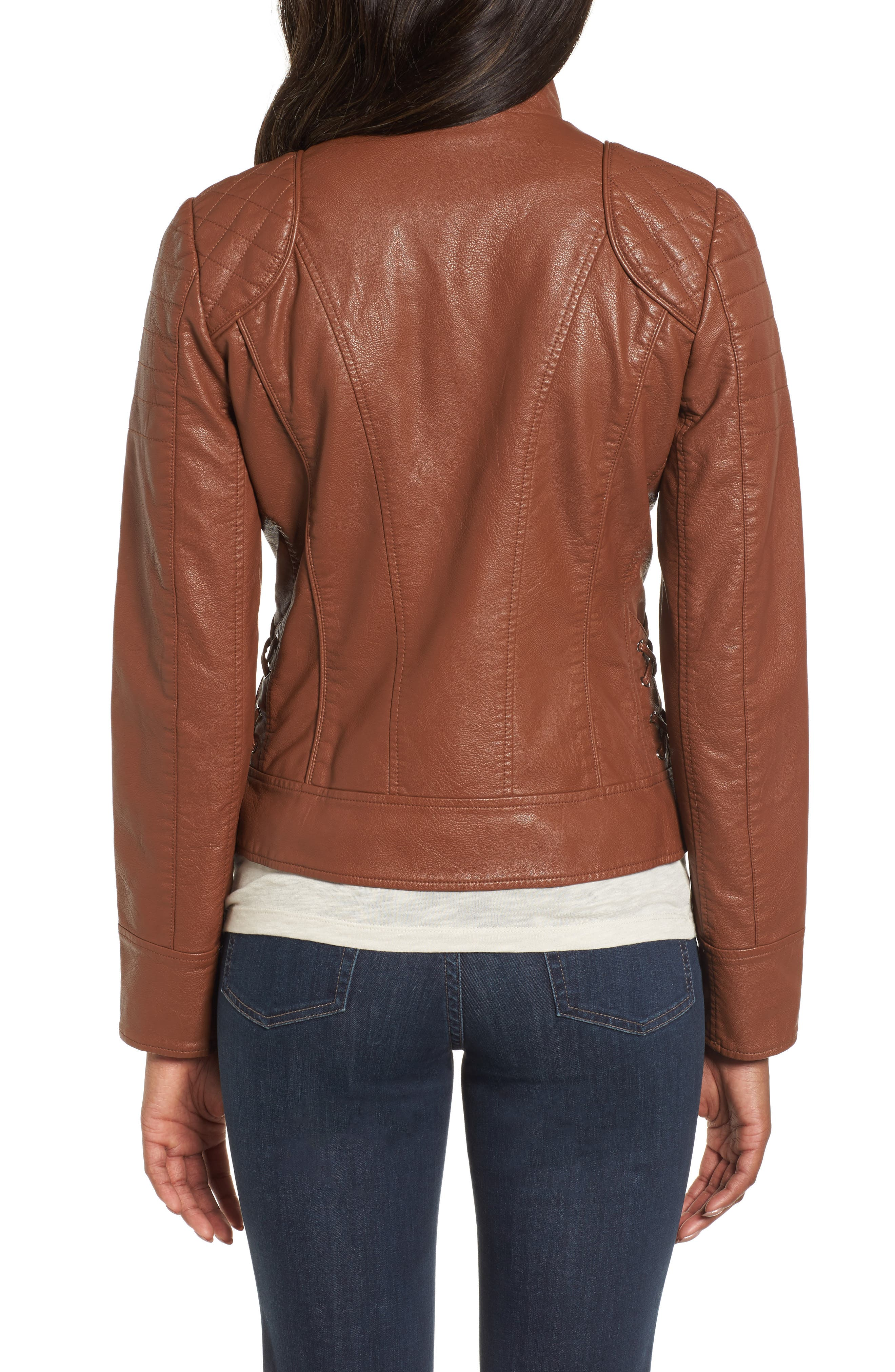 Side Lace Faux Leather Jacket,                             Alternate thumbnail 4, color,