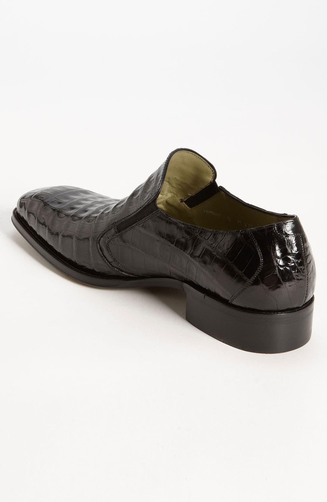 'Fiorello' Crocodile Loafer,                             Alternate thumbnail 3, color,                             BLACK