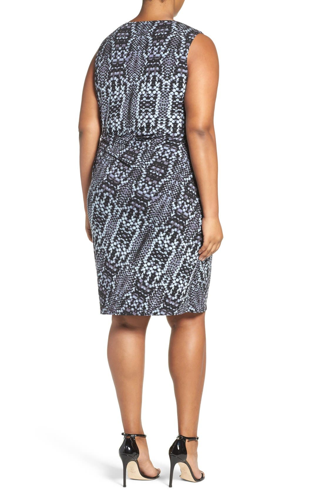 Margaux Twist Front Sheath Dress,                             Alternate thumbnail 2, color,                             PYTHON TINTYPE