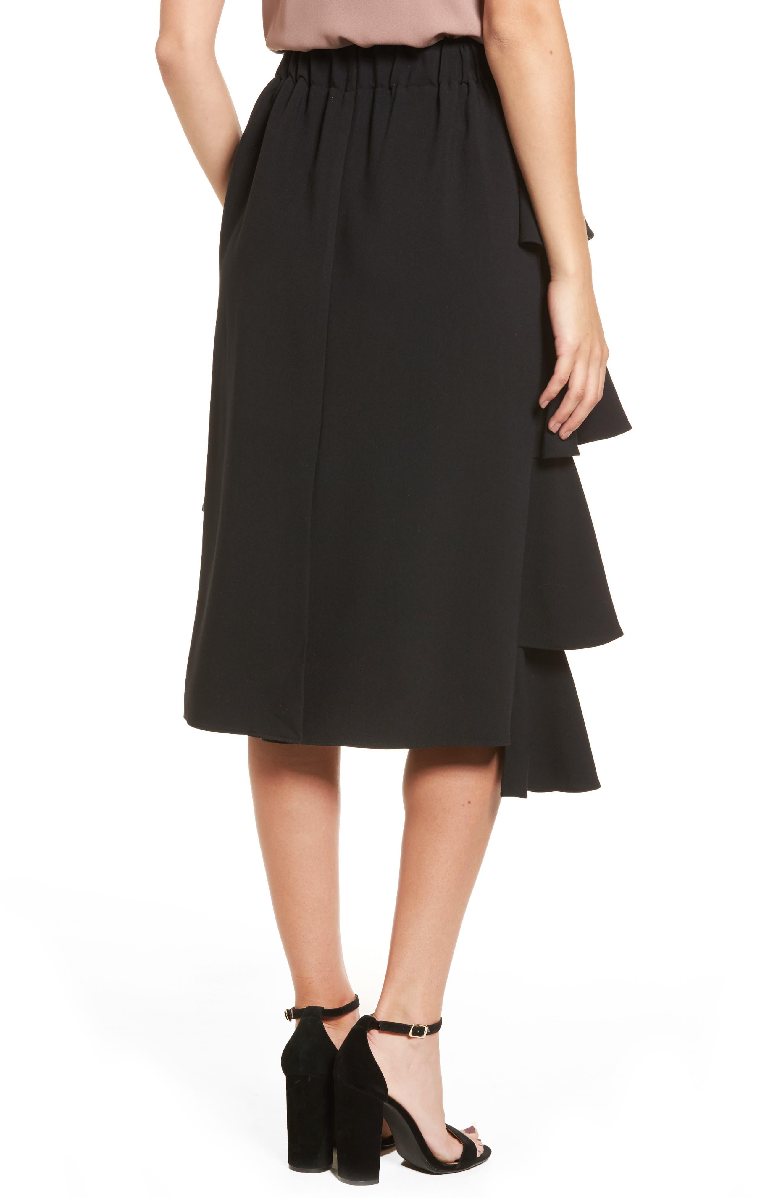 Tiered Ruffle Midi Skirt,                             Alternate thumbnail 2, color,                             001