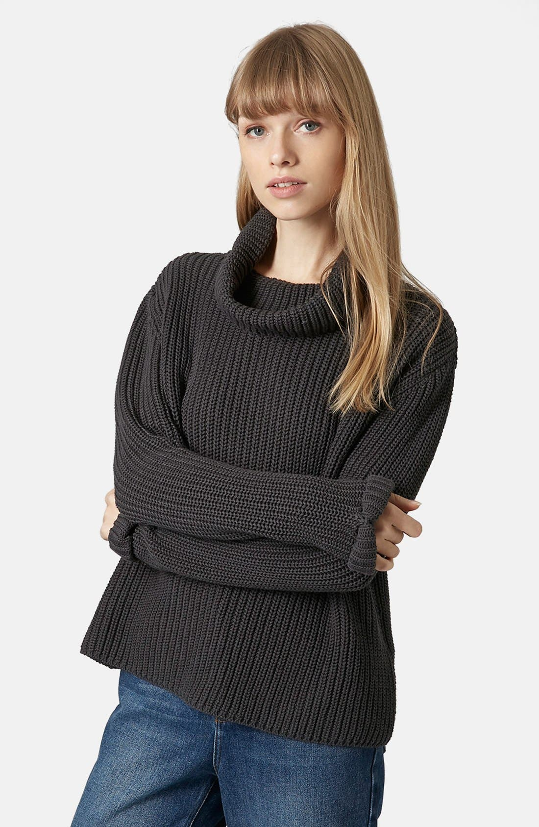 TOPSHOP BOUTIQUE,                             Roll Neck Fisherman Sweater,                             Main thumbnail 1, color,                             021