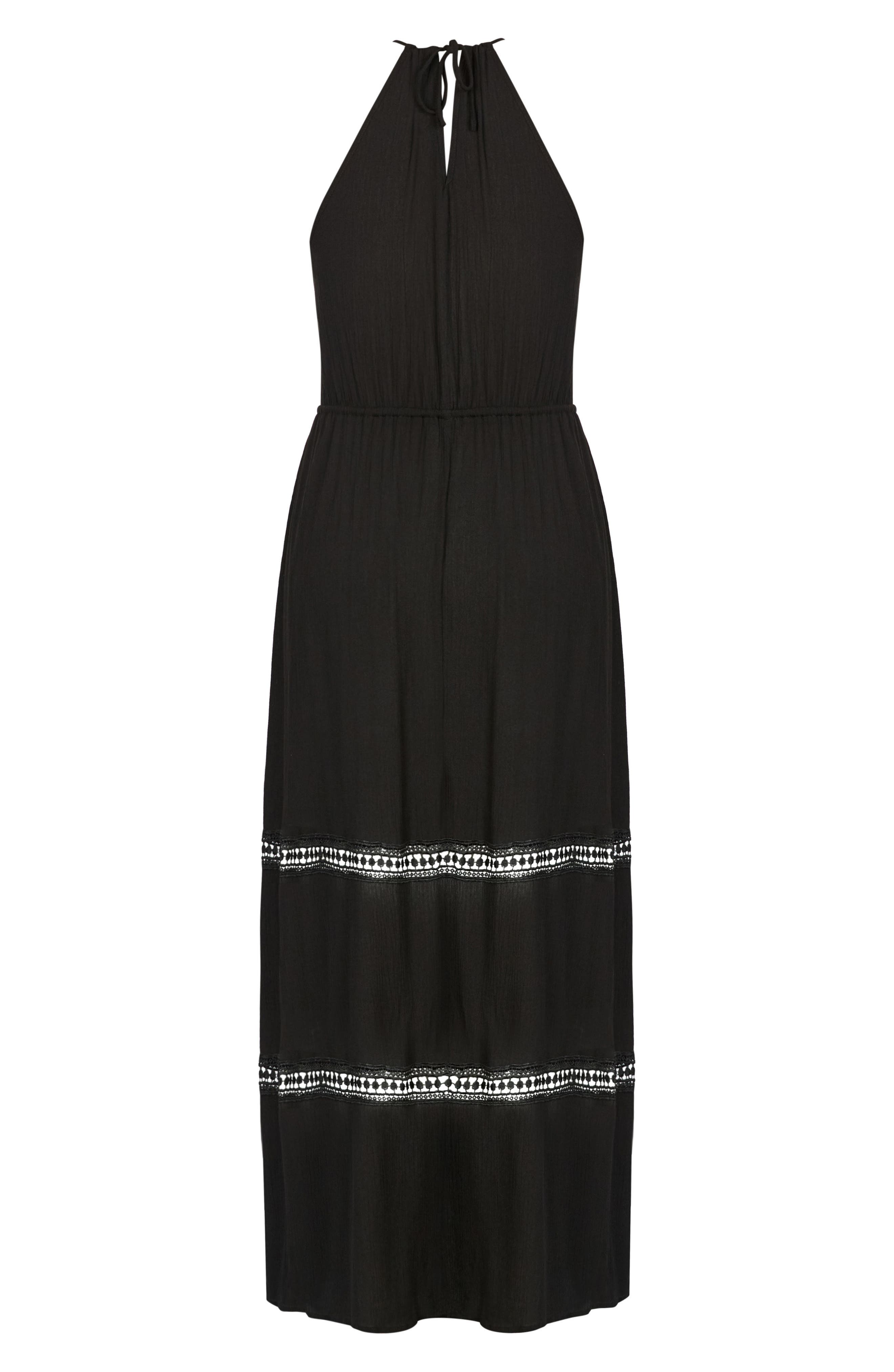 Summer Holiday Maxi Dress,                             Alternate thumbnail 3, color,                             BLACK