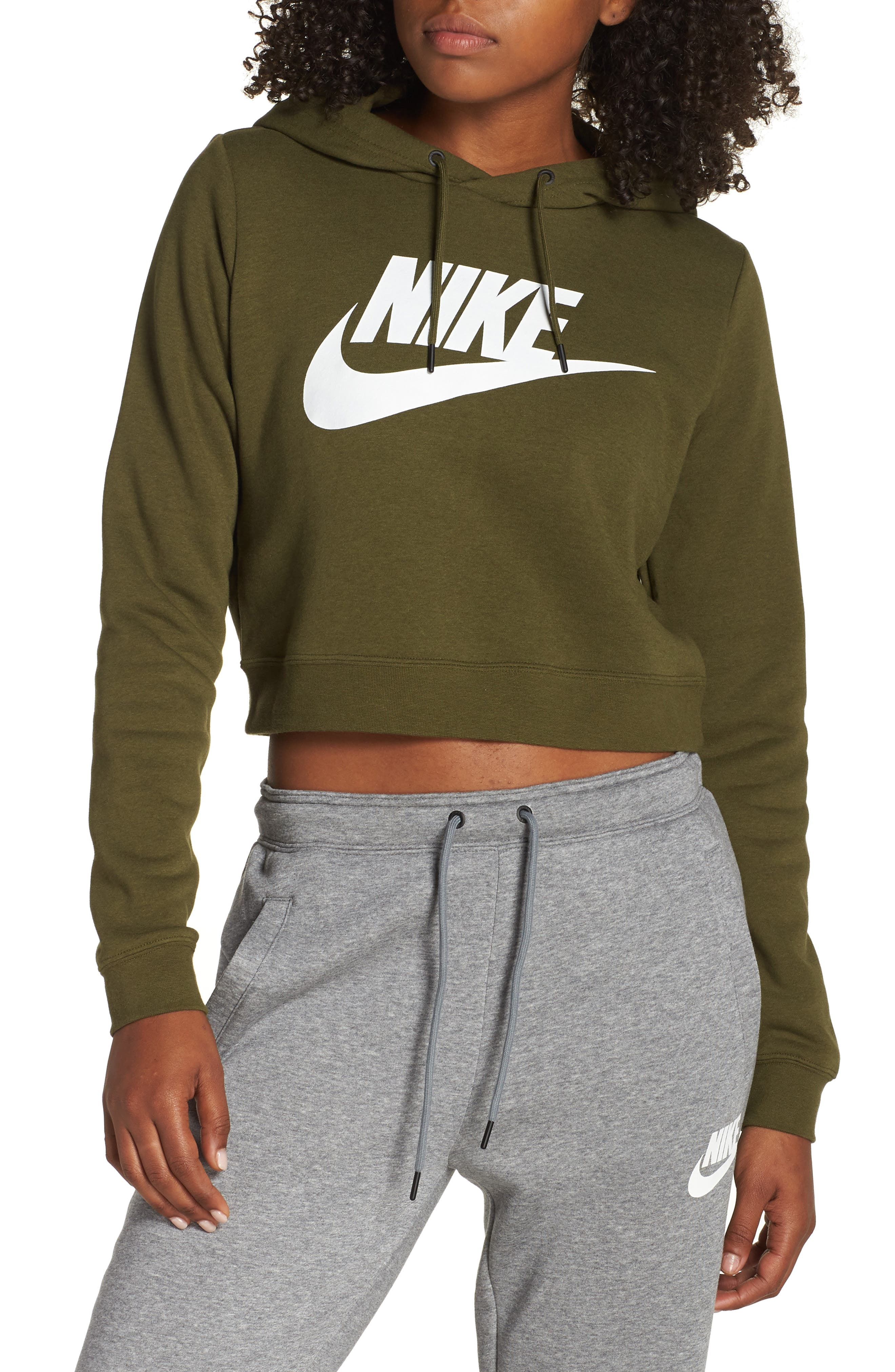 Sportswear Rally Crop Hoodie,                         Main,                         color, OLIVE CANVAS/ WHITE