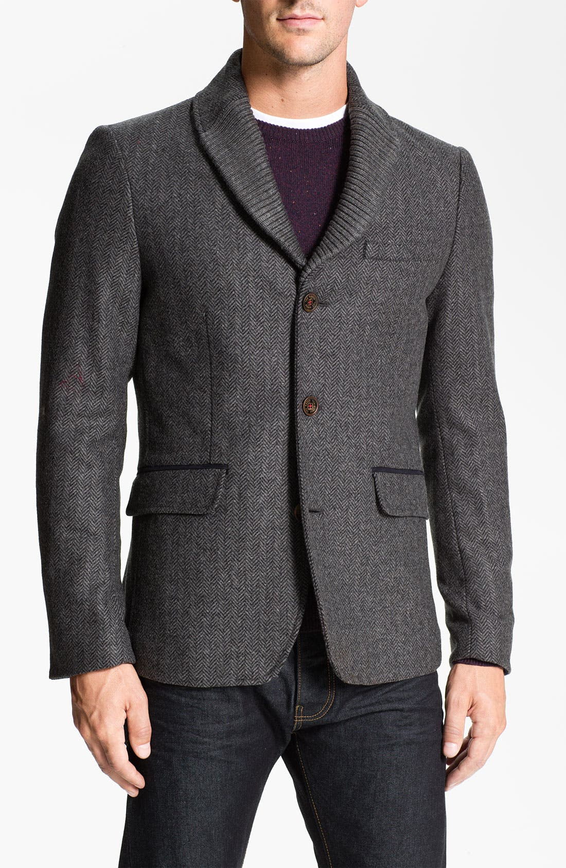 'Ananic' Shawl Collar Wool Blend Blazer,                             Main thumbnail 1, color,                             020