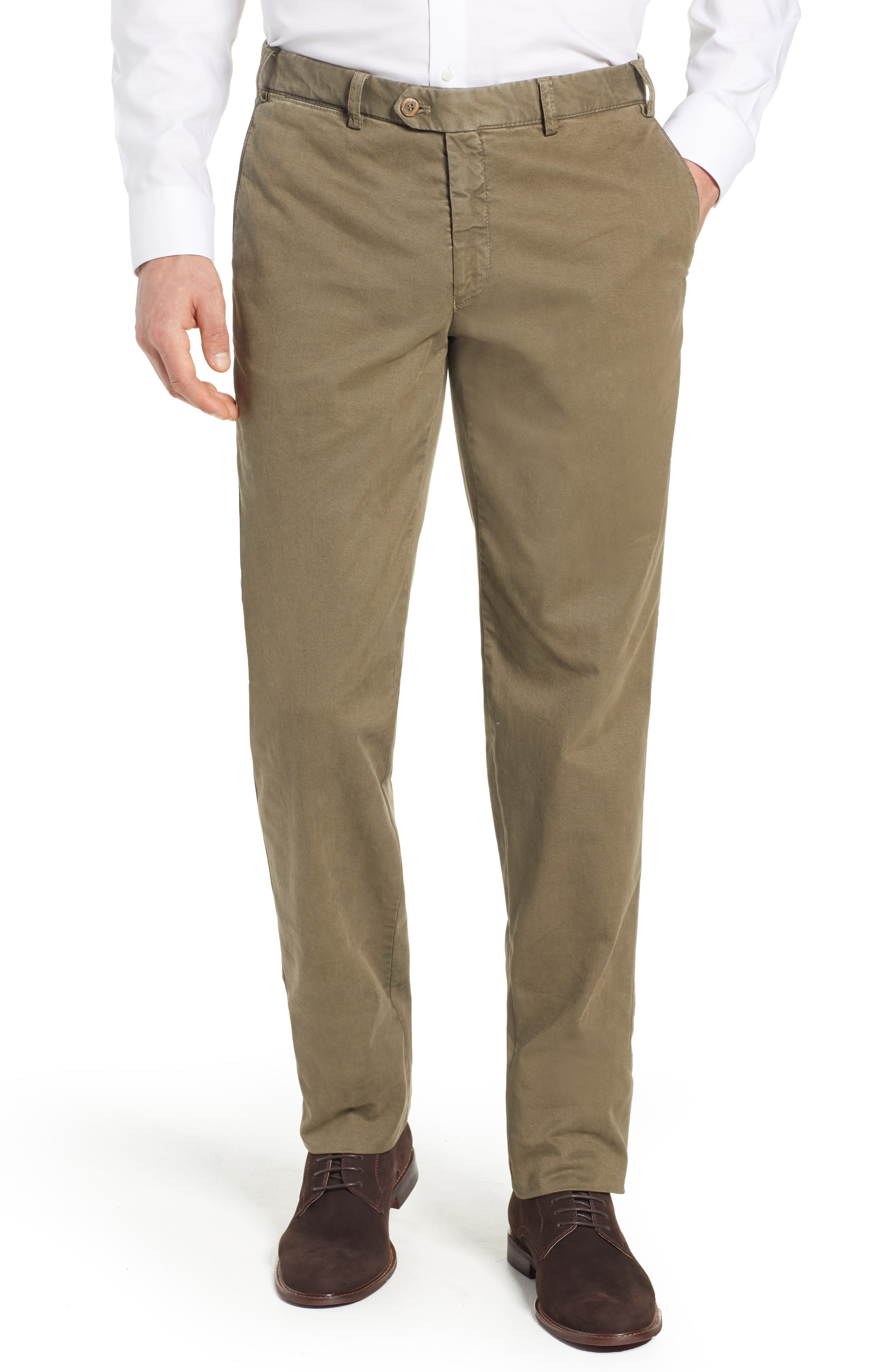 Pero Trim Fit Flat Front Chino Trousers,                         Main,                         color, KHAKI