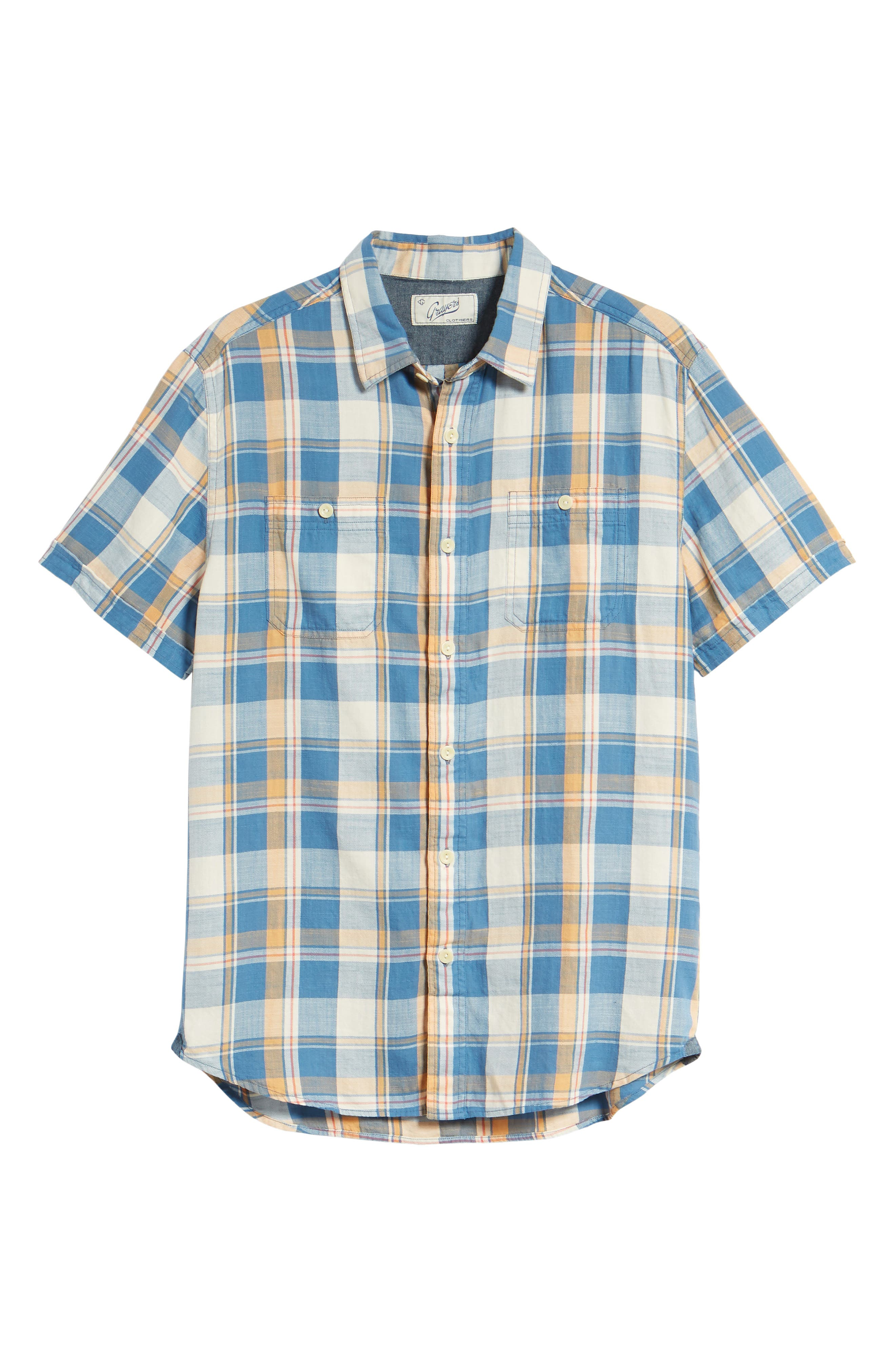 Sherman Plaid Slub Twill Sport Shirt,                             Alternate thumbnail 6, color,