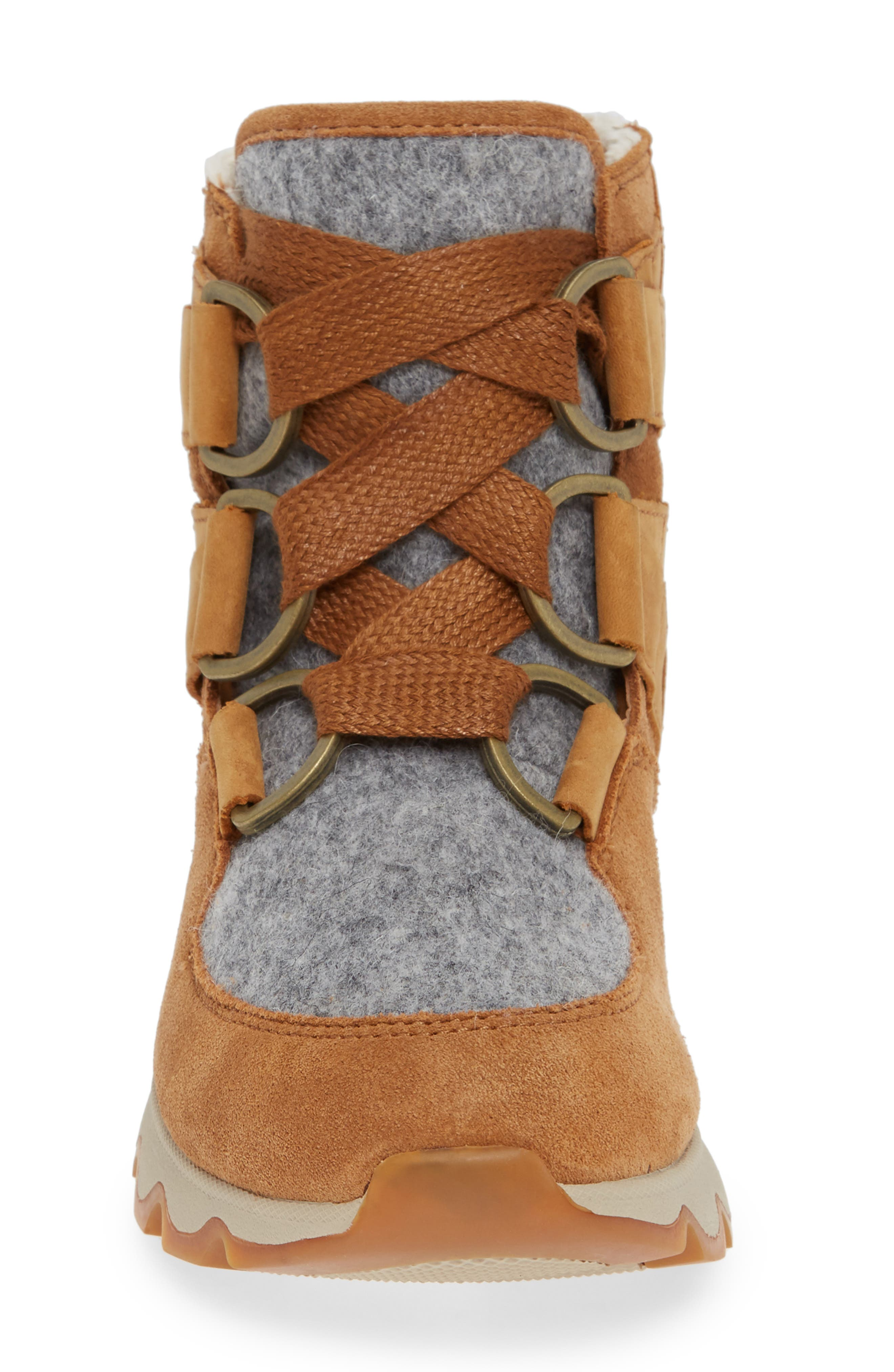 Kinetic Waterproof Short Lace-Up Boot,                             Alternate thumbnail 4, color,                             CAMEL BROWN