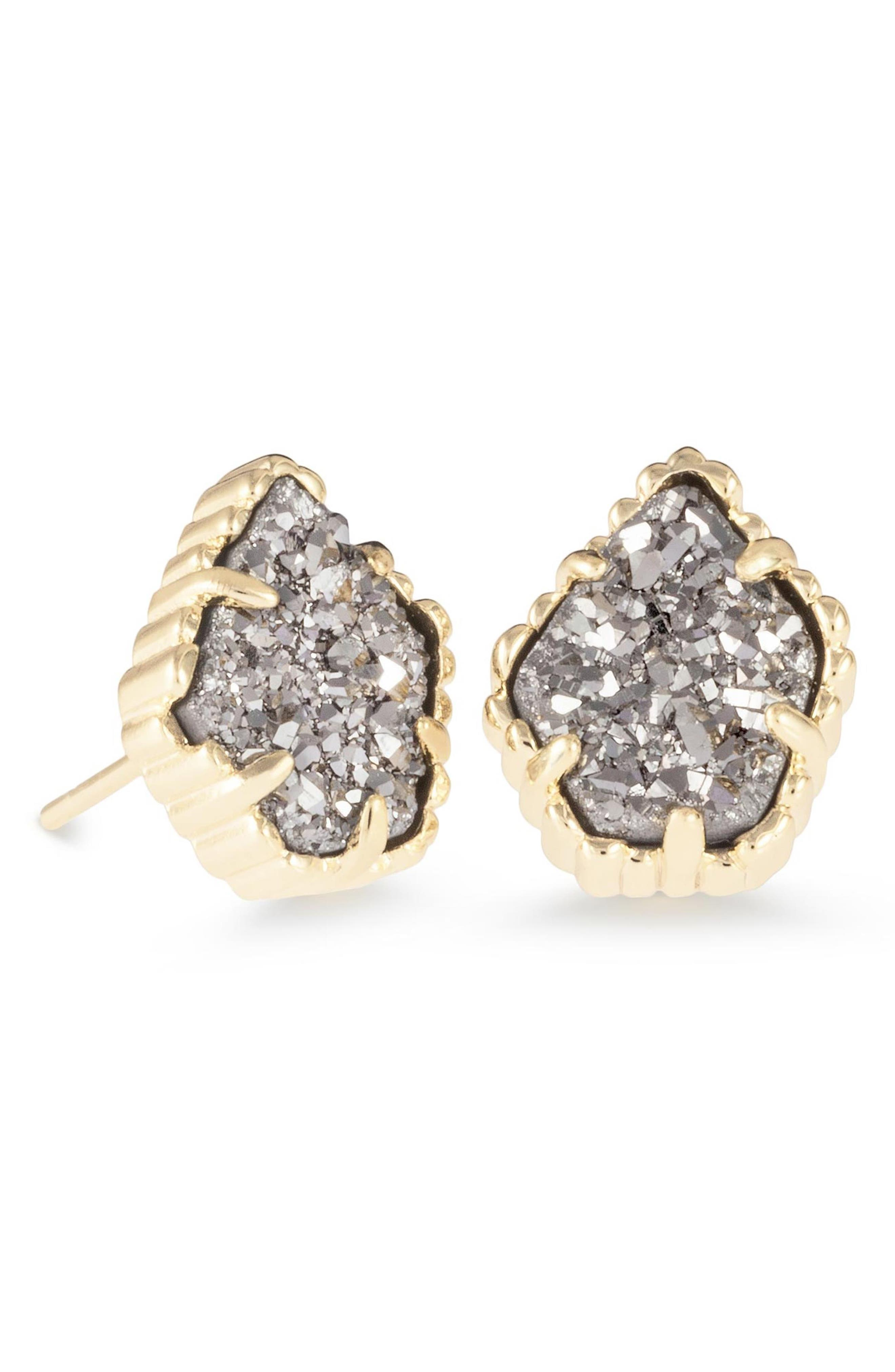 KENDRA SCOTT Tessa Druzy Button Earrings in Platinum Drusy/ Gold