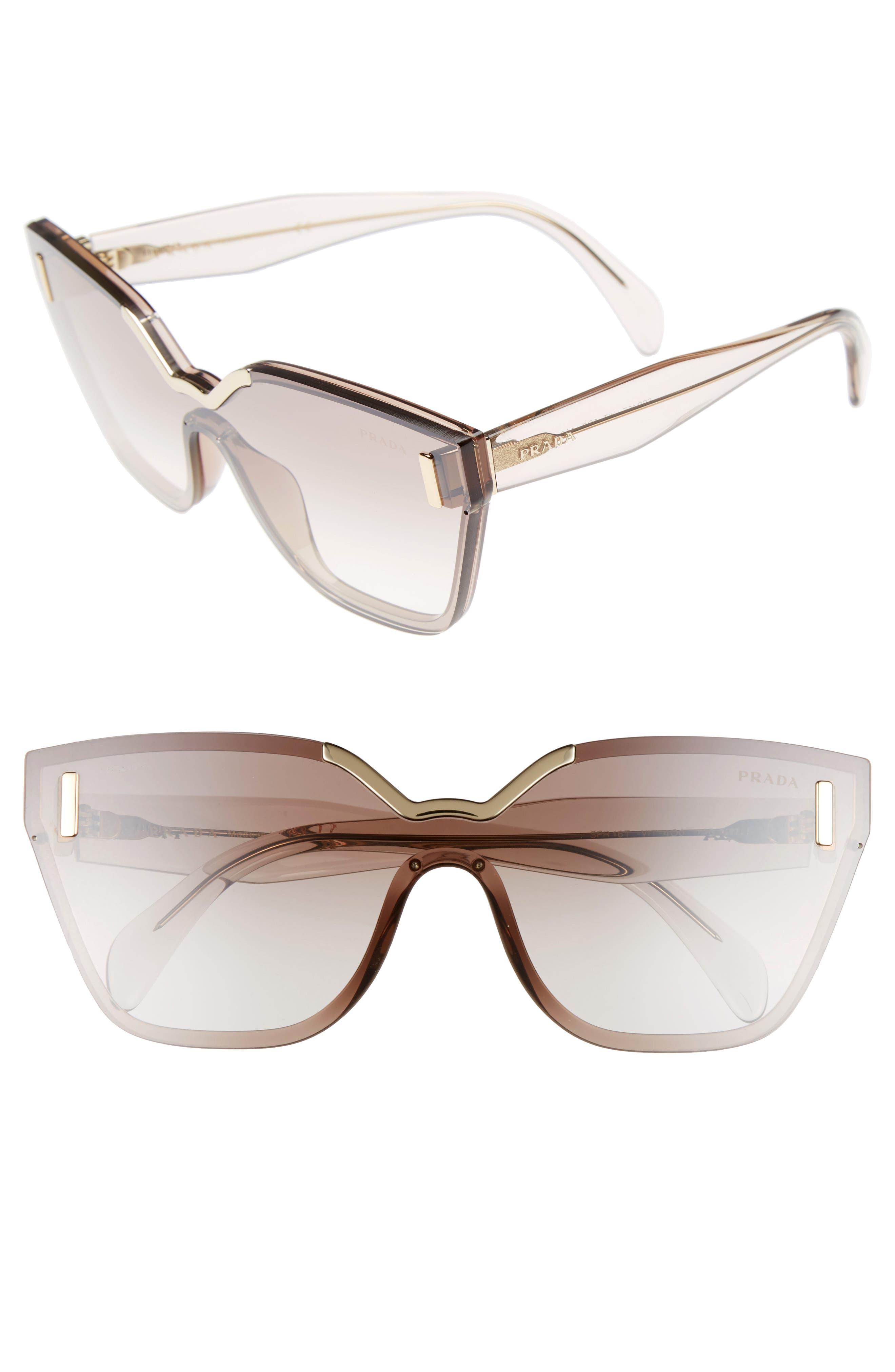 61mm Mirrored Shield Sunglasses,                             Main thumbnail 1, color,                             200