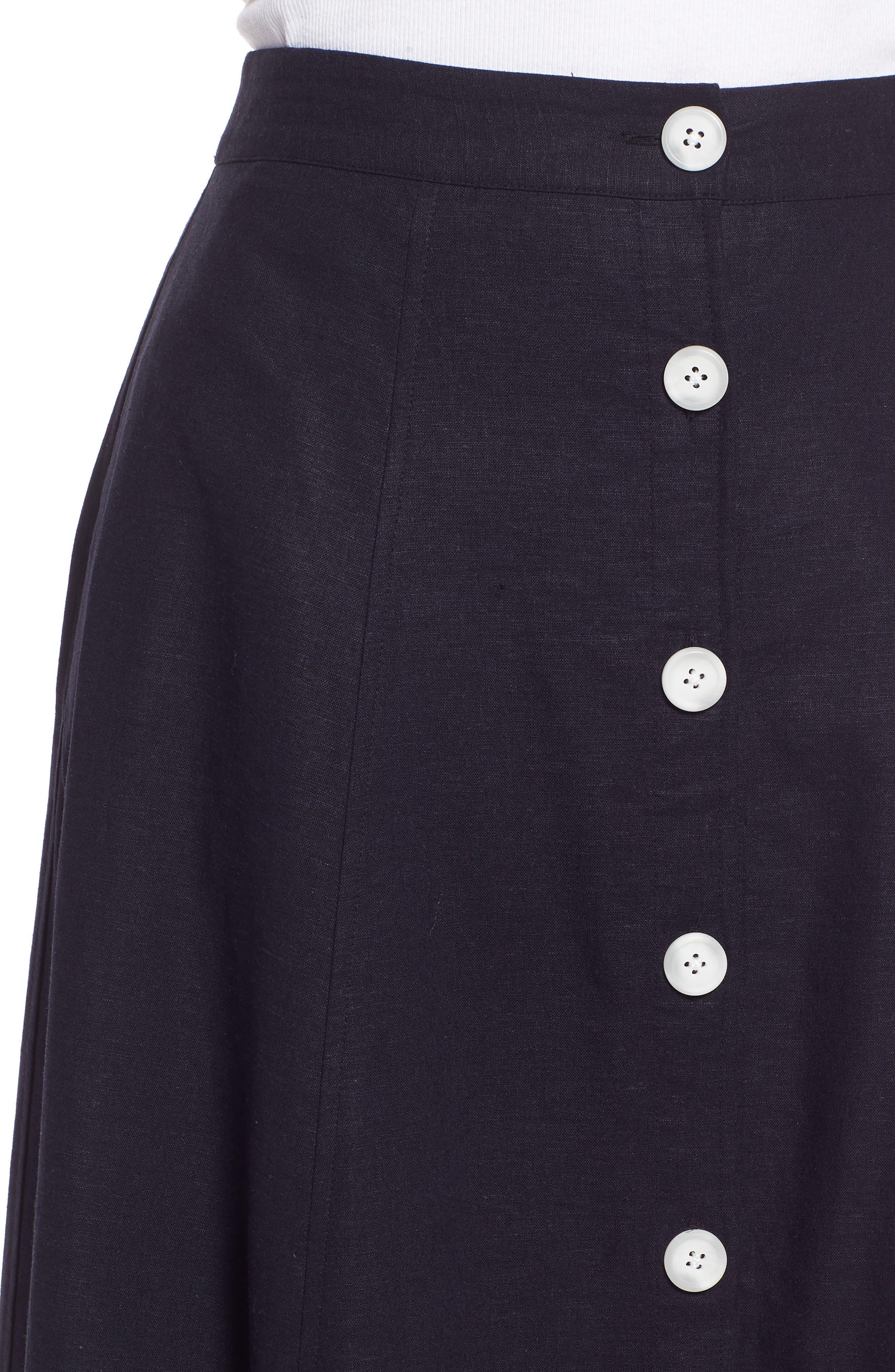 Colorblock Linen Blend Skirt,                             Alternate thumbnail 4, color,                             410