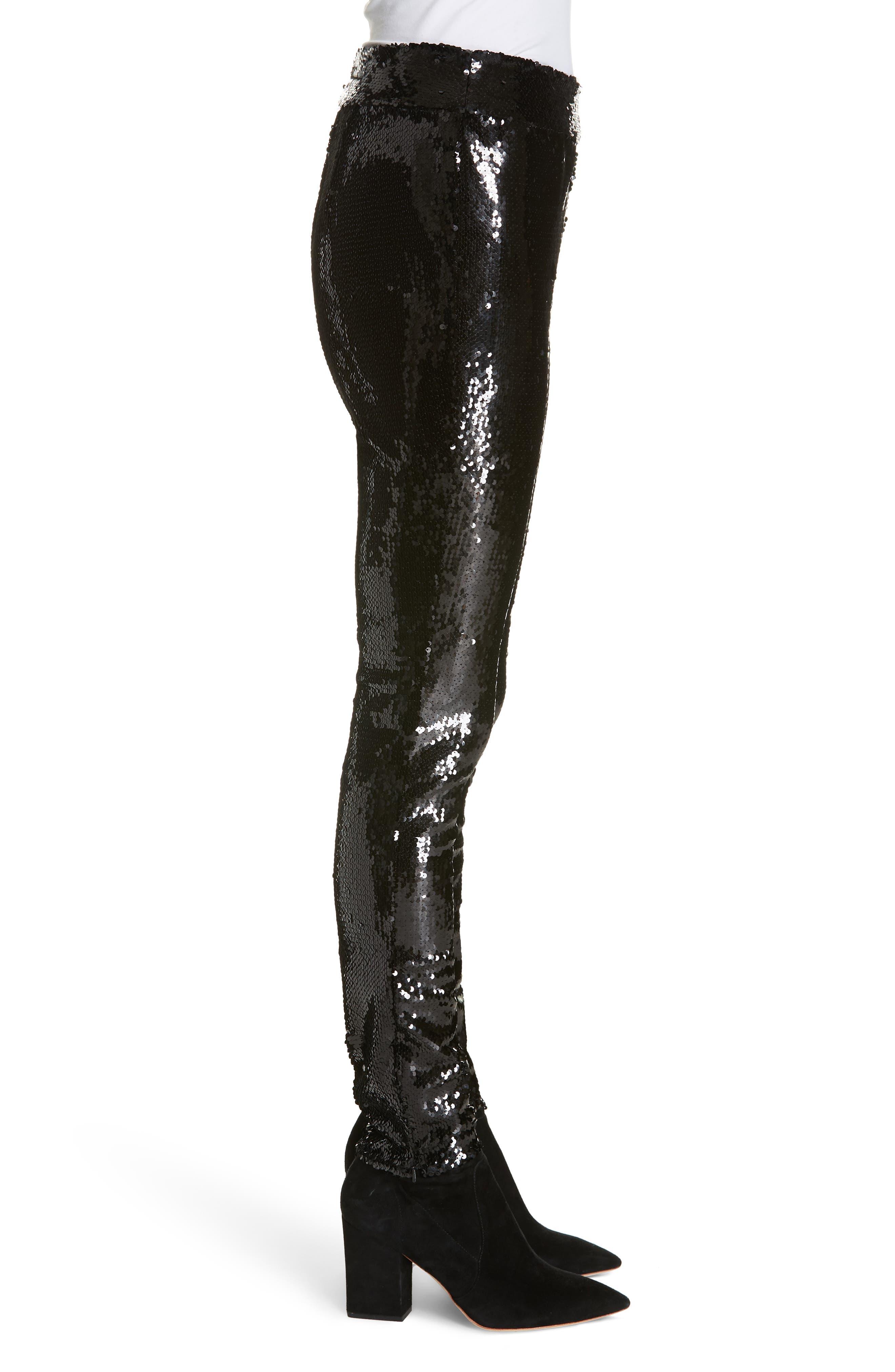 Sequin Skinny Pants,                             Alternate thumbnail 3, color,                             NOIR