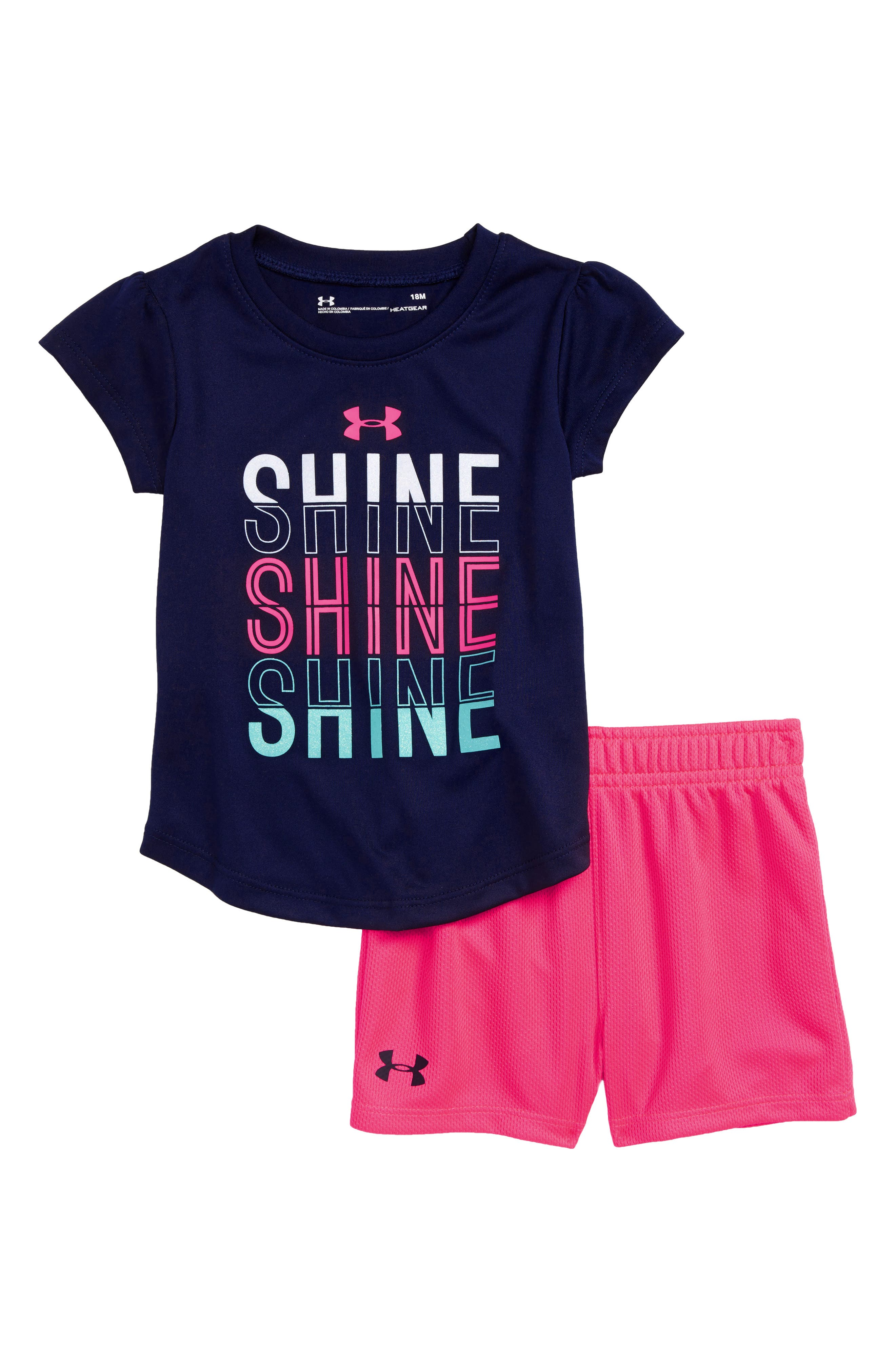 Shine Shine Shine HeatGear<sup>®</sup> Tee & Shorts Set,                             Main thumbnail 1, color,                             001