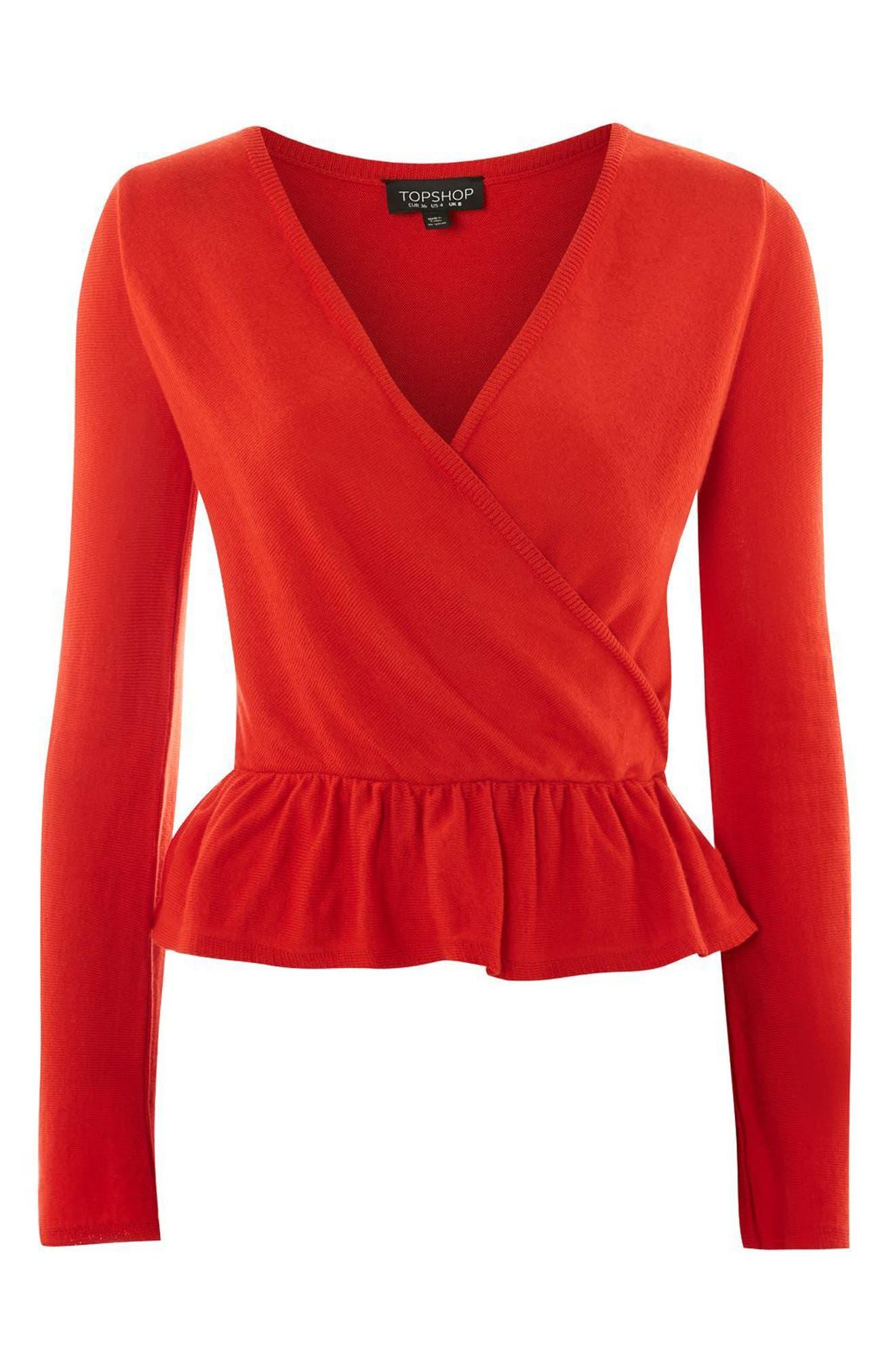 Peplum Wrap Sweater,                             Alternate thumbnail 3, color,