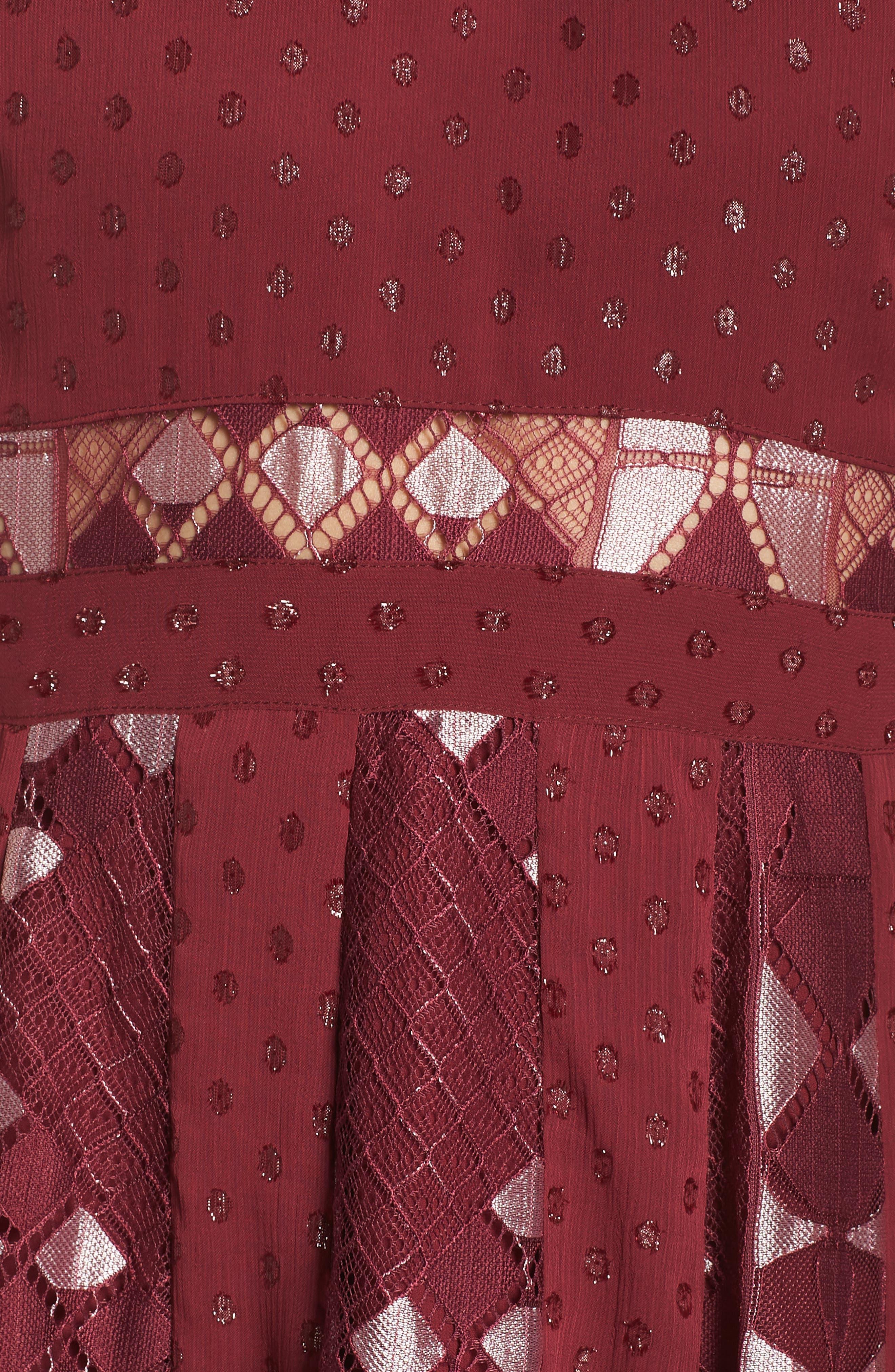 Bravo Zulu Fit & Flare Dress,                             Alternate thumbnail 6, color,                             WINE METALLIC