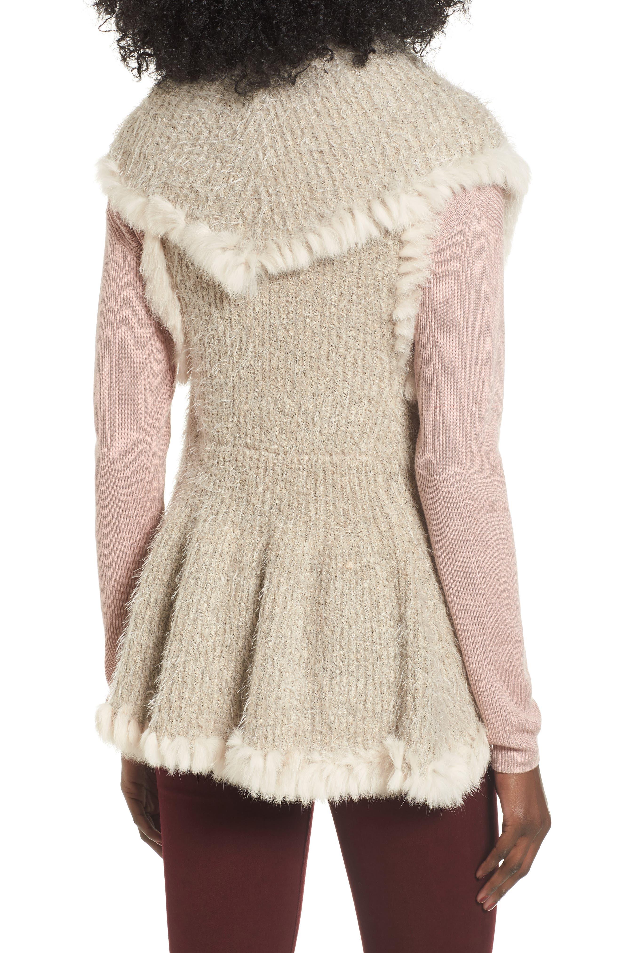 Knit Vest with Genuine Rabbit Fur Trim,                             Alternate thumbnail 6, color,