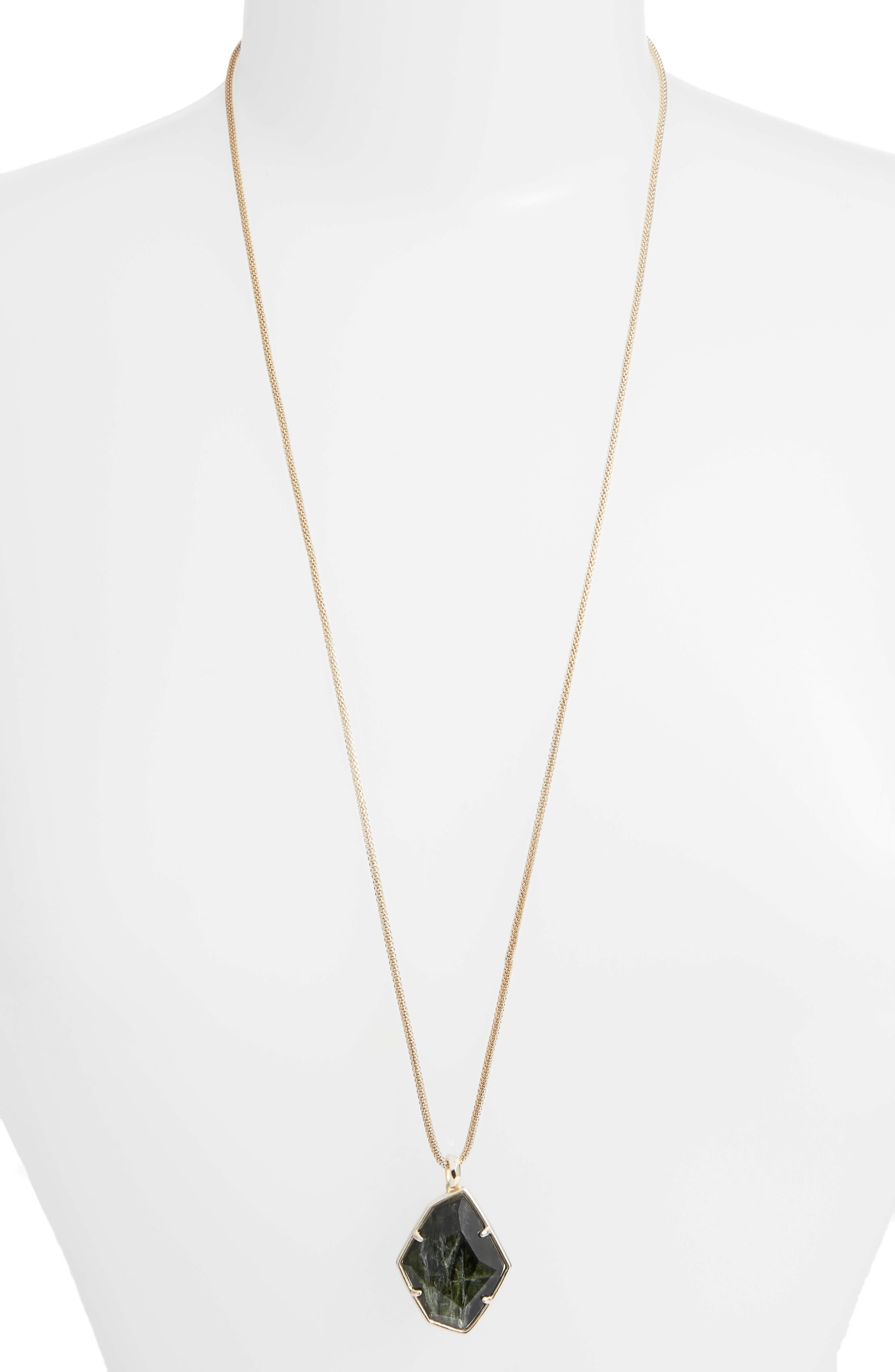 KENDRA SCOTT Kalani Long Adjustable Pendant Necklace in Sage/ Gold