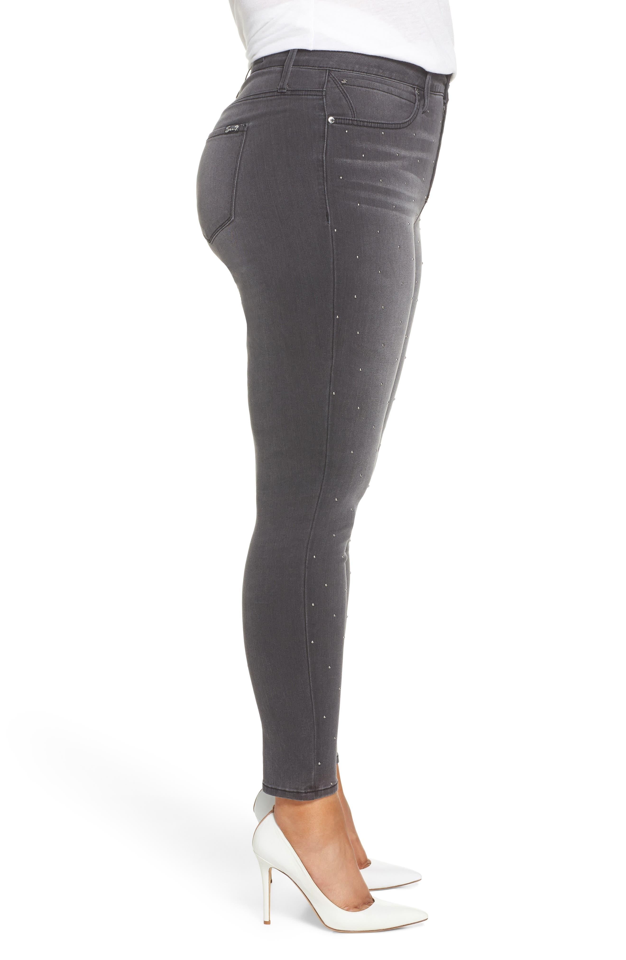 High Rise Lace Hem Skinny Jeans,                             Alternate thumbnail 3, color,                             REVOLUTION