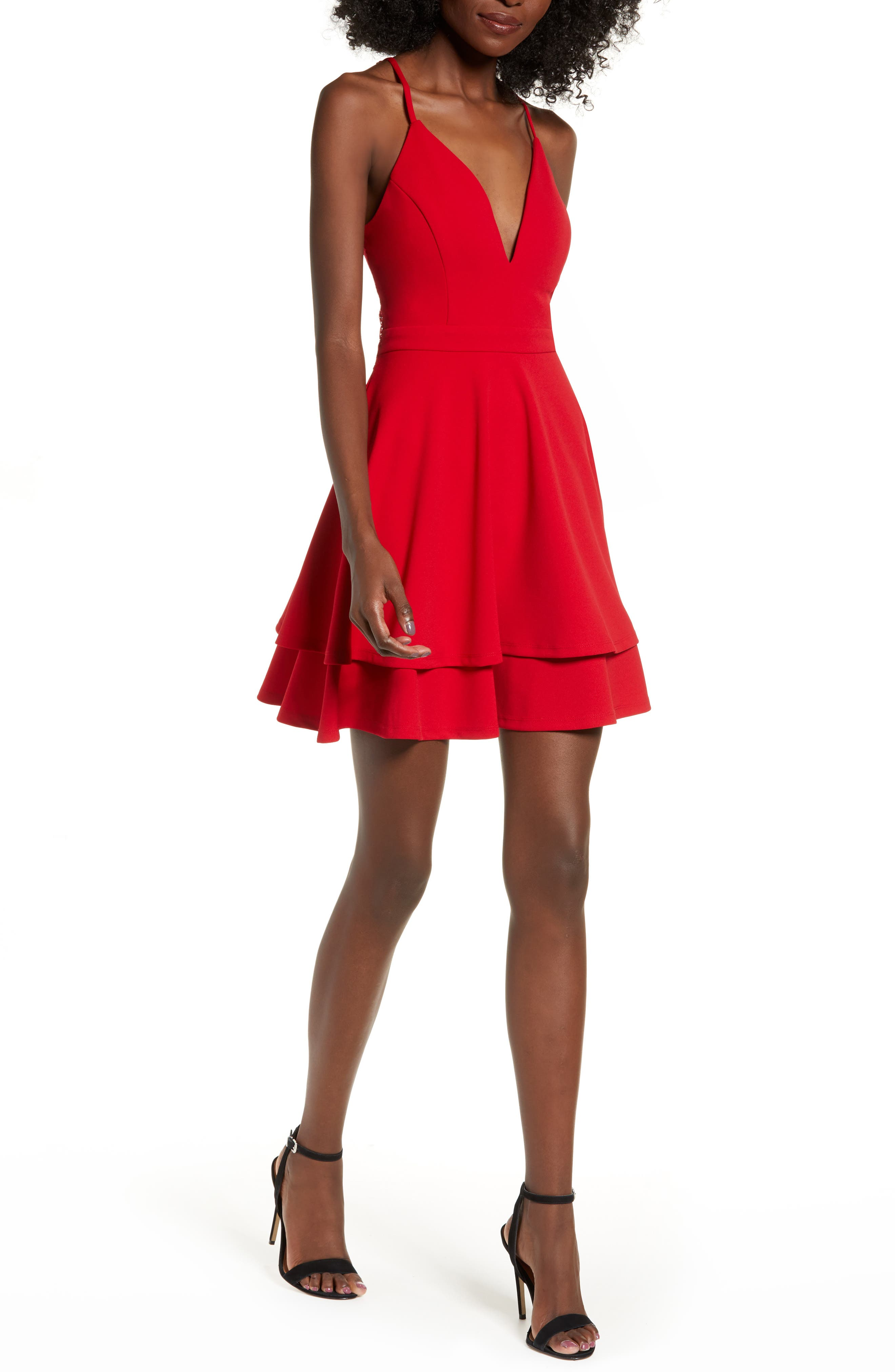 LOVE, NICKIE LEW,                             V-Neck Skater Dress,                             Alternate thumbnail 6, color,                             RED