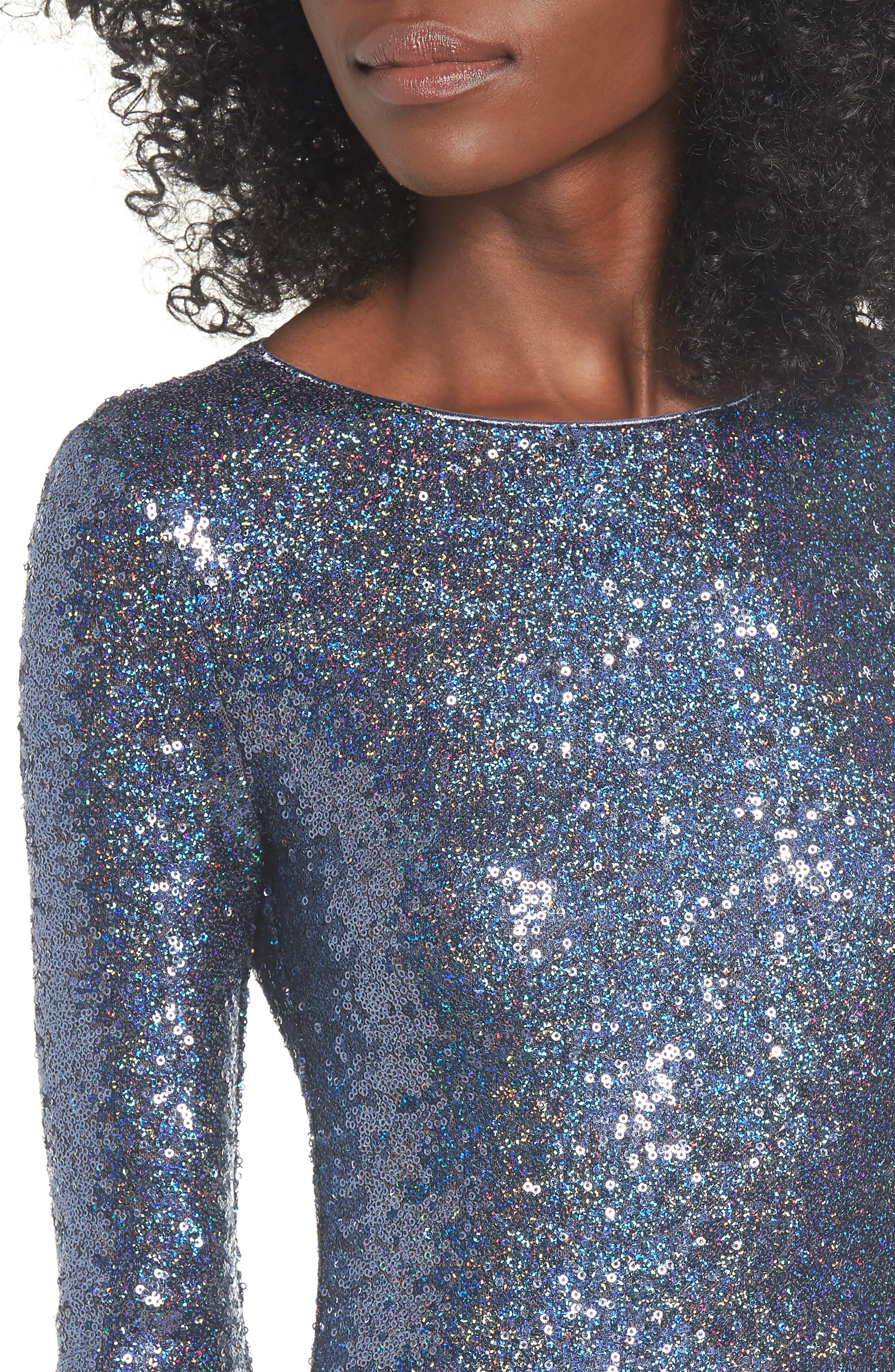Sequin Body-Con Minidress,                             Alternate thumbnail 4, color,                             NAVY EVENING