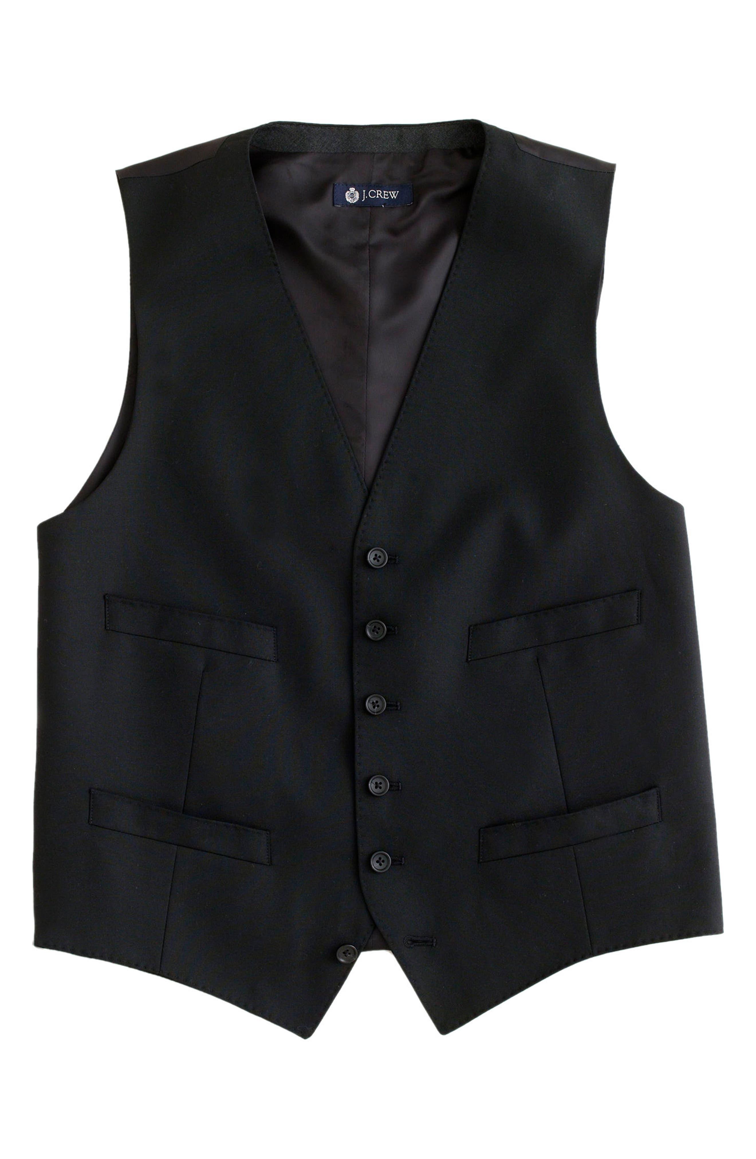 Ludlow Trim Fit Solid Wool Vest,                             Alternate thumbnail 7, color,                             001
